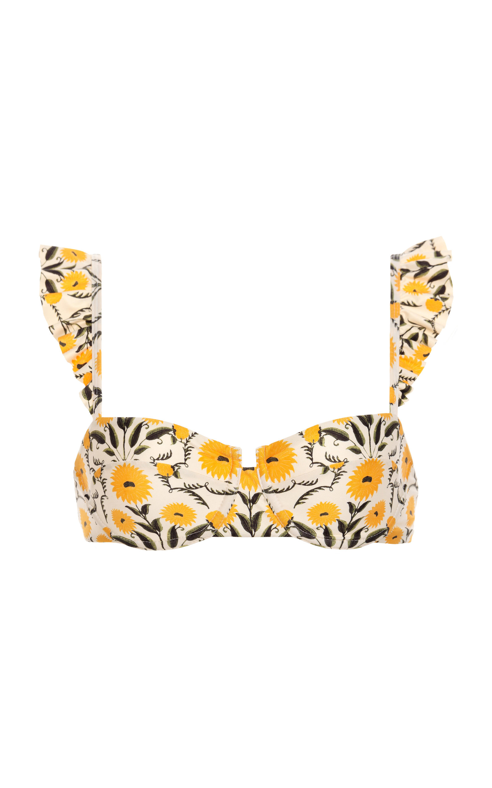 Women's Kiwi Ruffled Floral Bikini Top