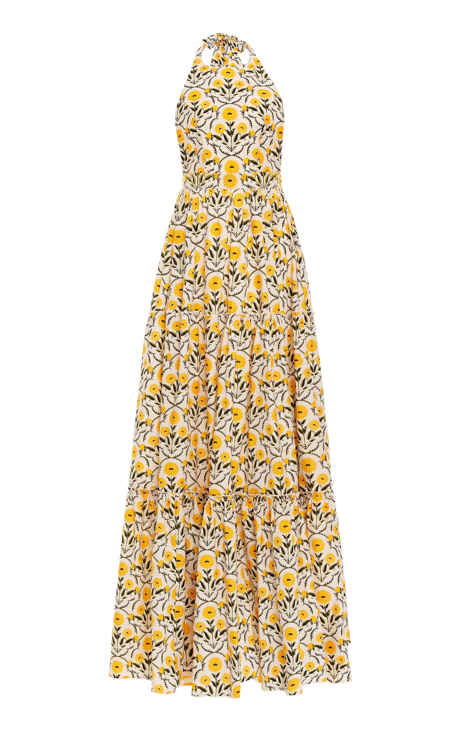 Women's Naranja Floral Cotton Poplin Maxi Halter Dress