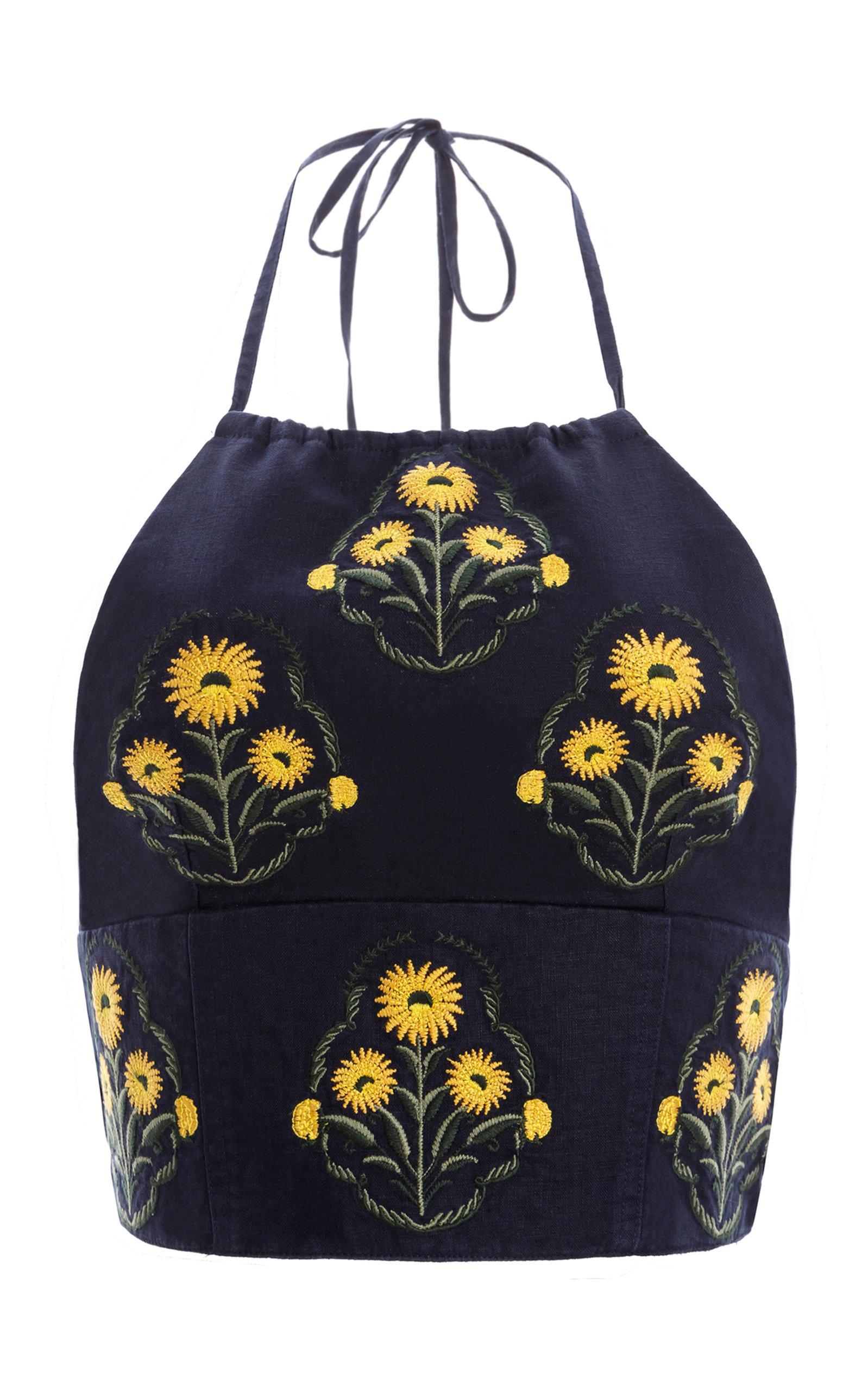 Women's Castaña Embroidered Linen Cropped Halter Top