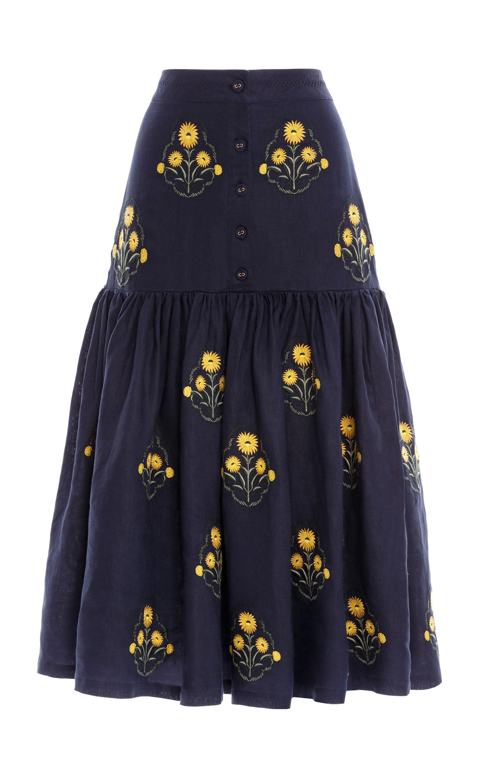 Women's Ciruela Embroidered Linen Midi Skirt