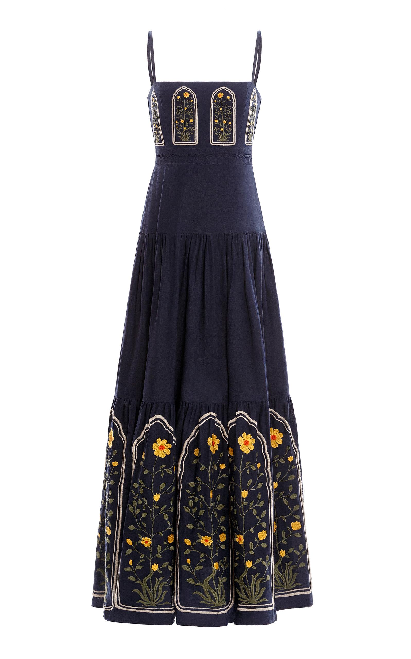 Women's Lima Embroidered Linen Maxi Dress