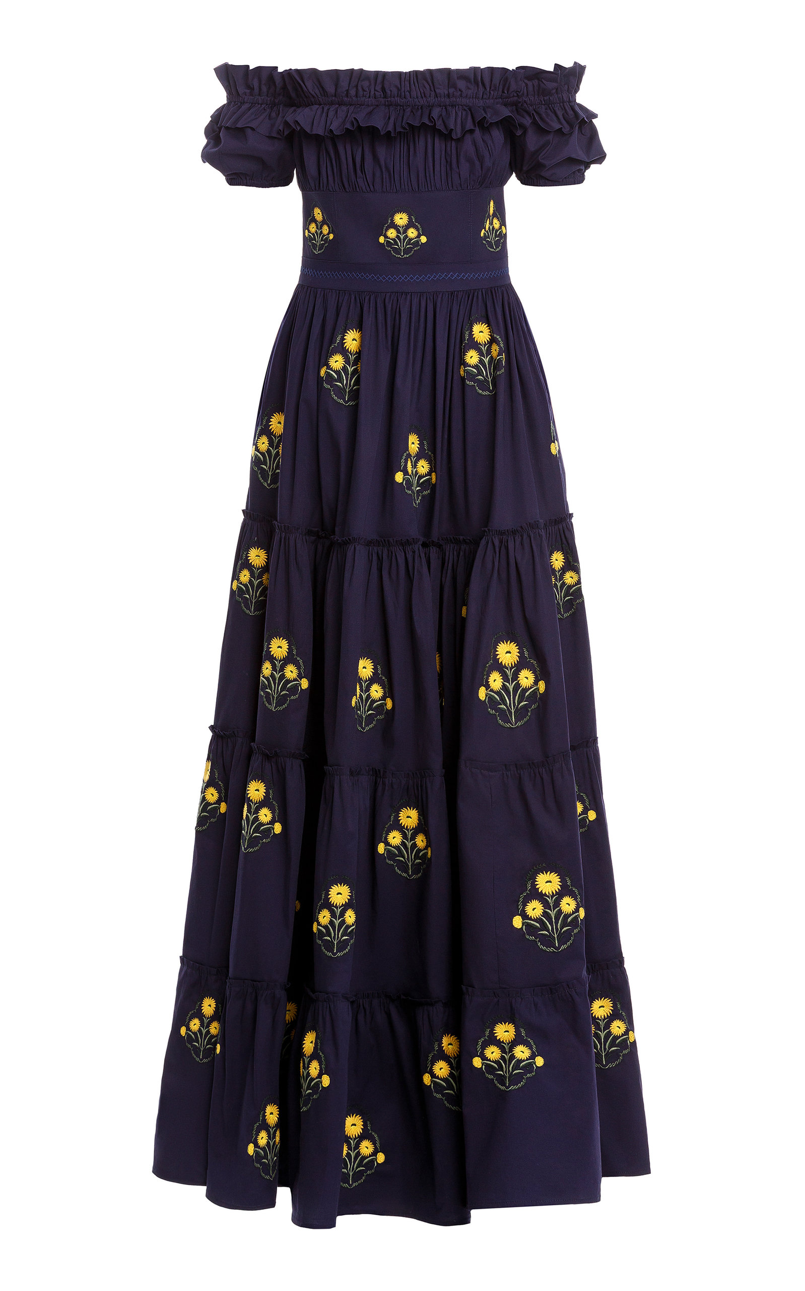 Women's Azucar Off-The-Shoulder Embroidered Cotton Maxi Dress