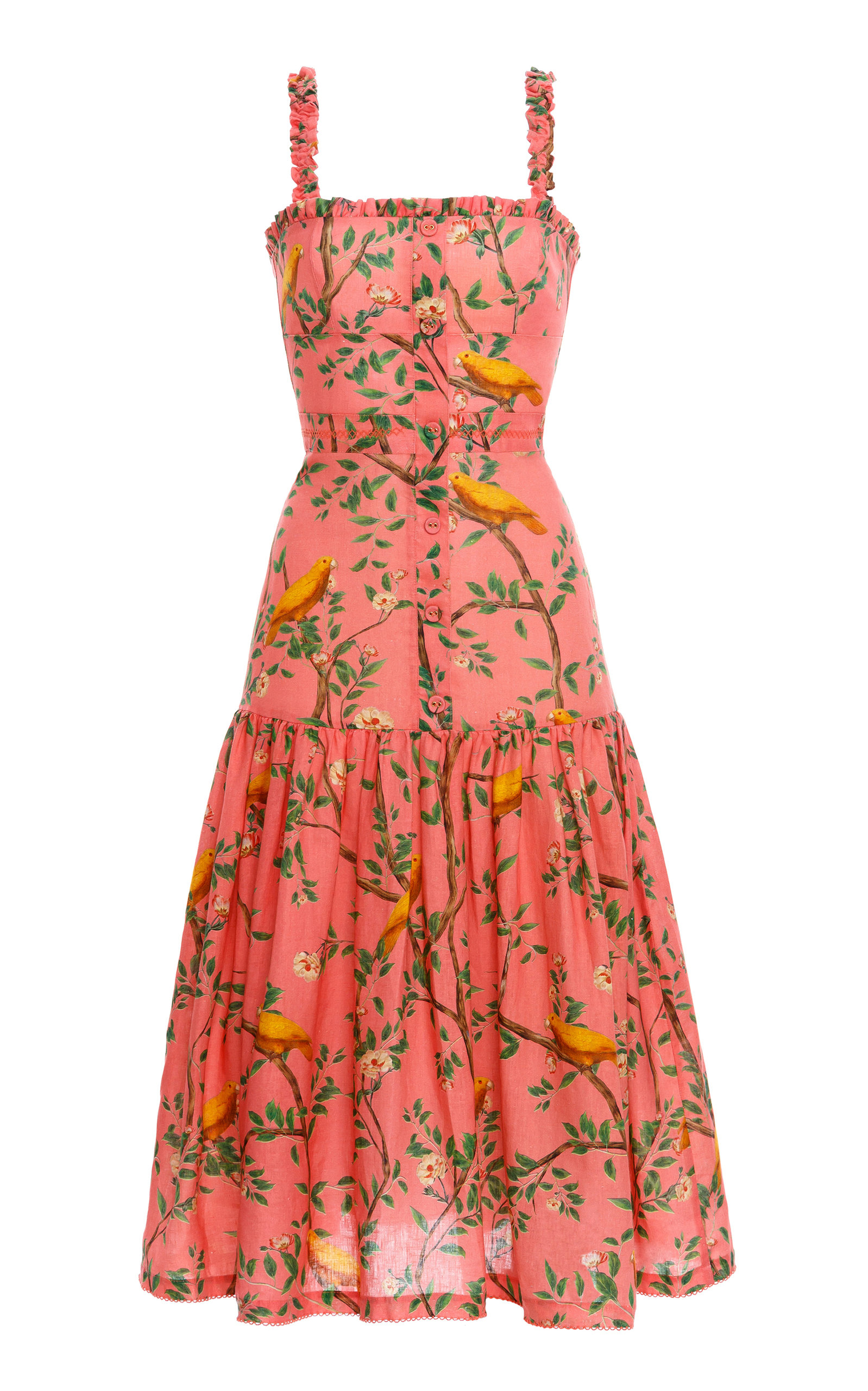 Women's Níspero Printed Linen Midi Dress