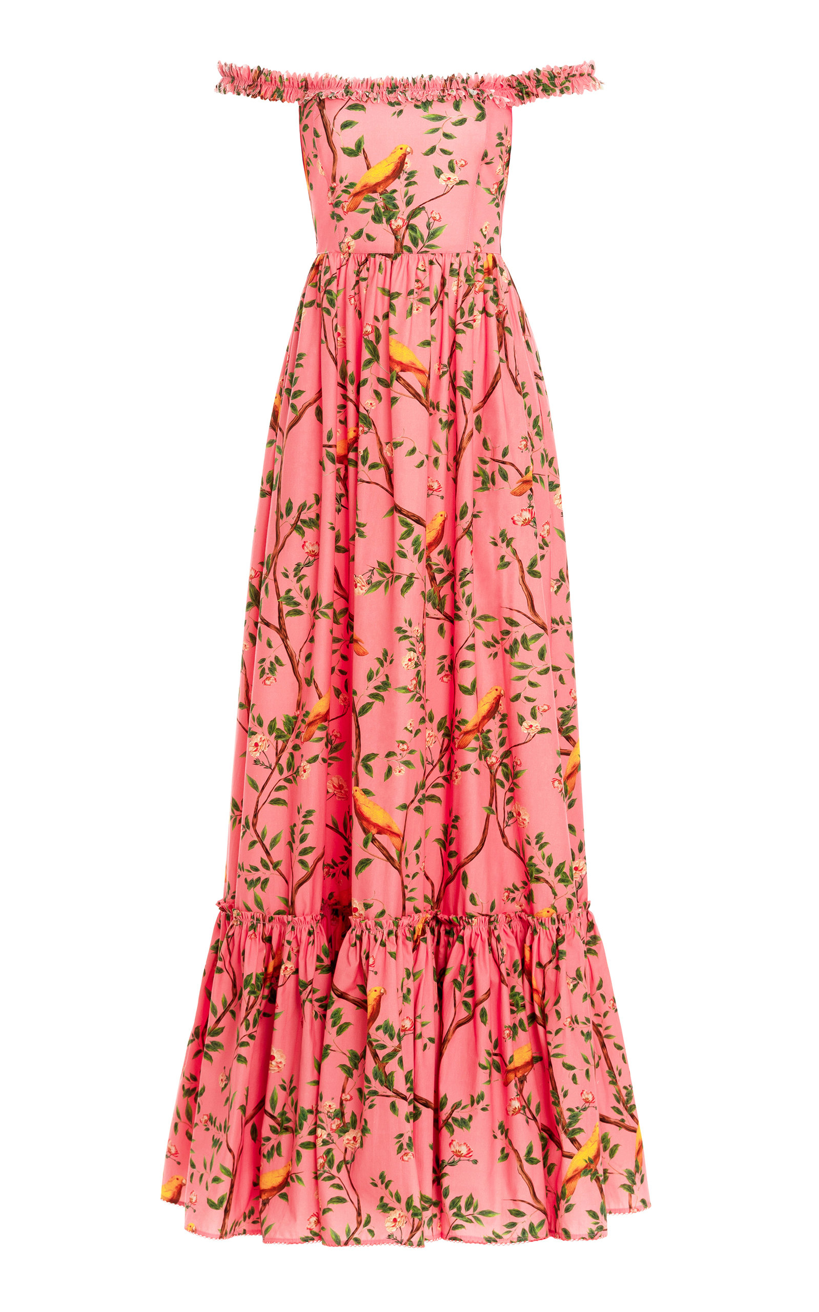 Women's Achiote Printed Pleated Cotton Poplin Maxi Dress