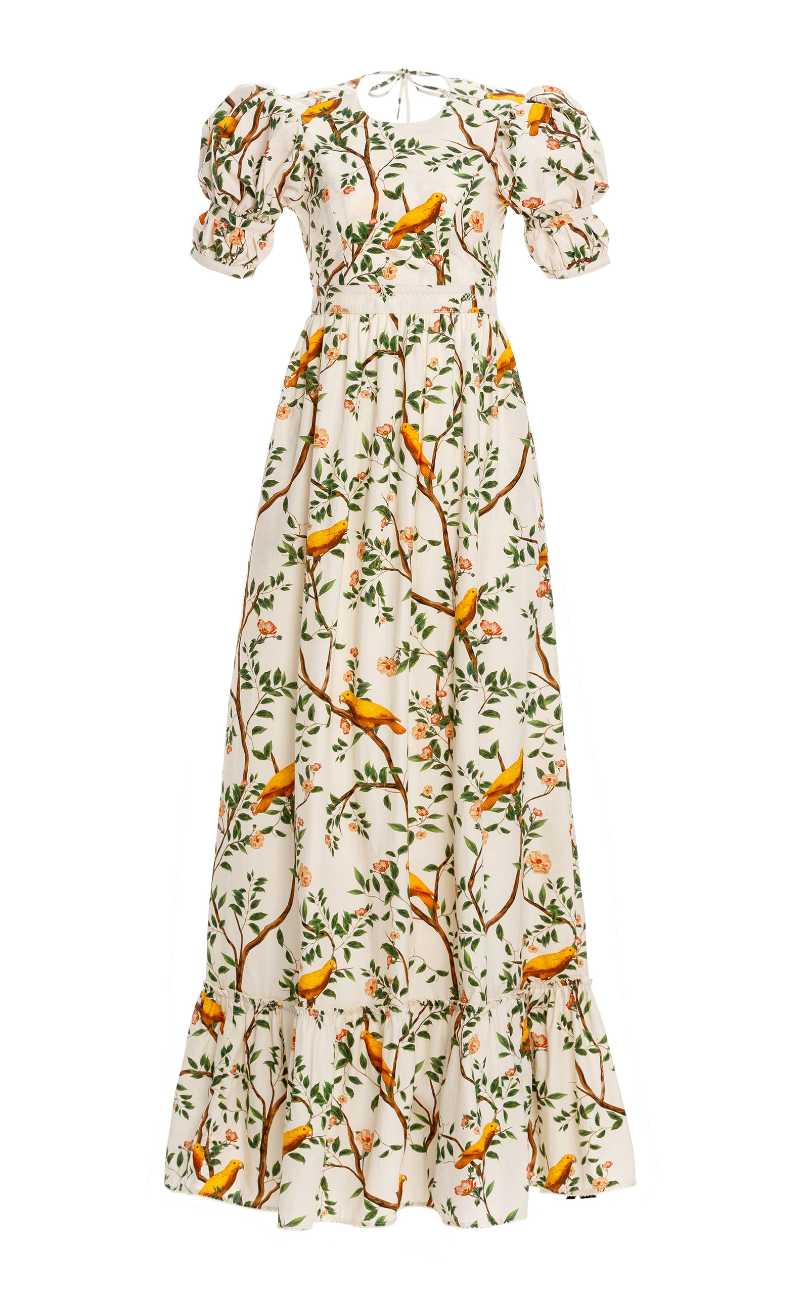 Women's Amapola Open-Back Printed Cotton Poplin Maxi Dress