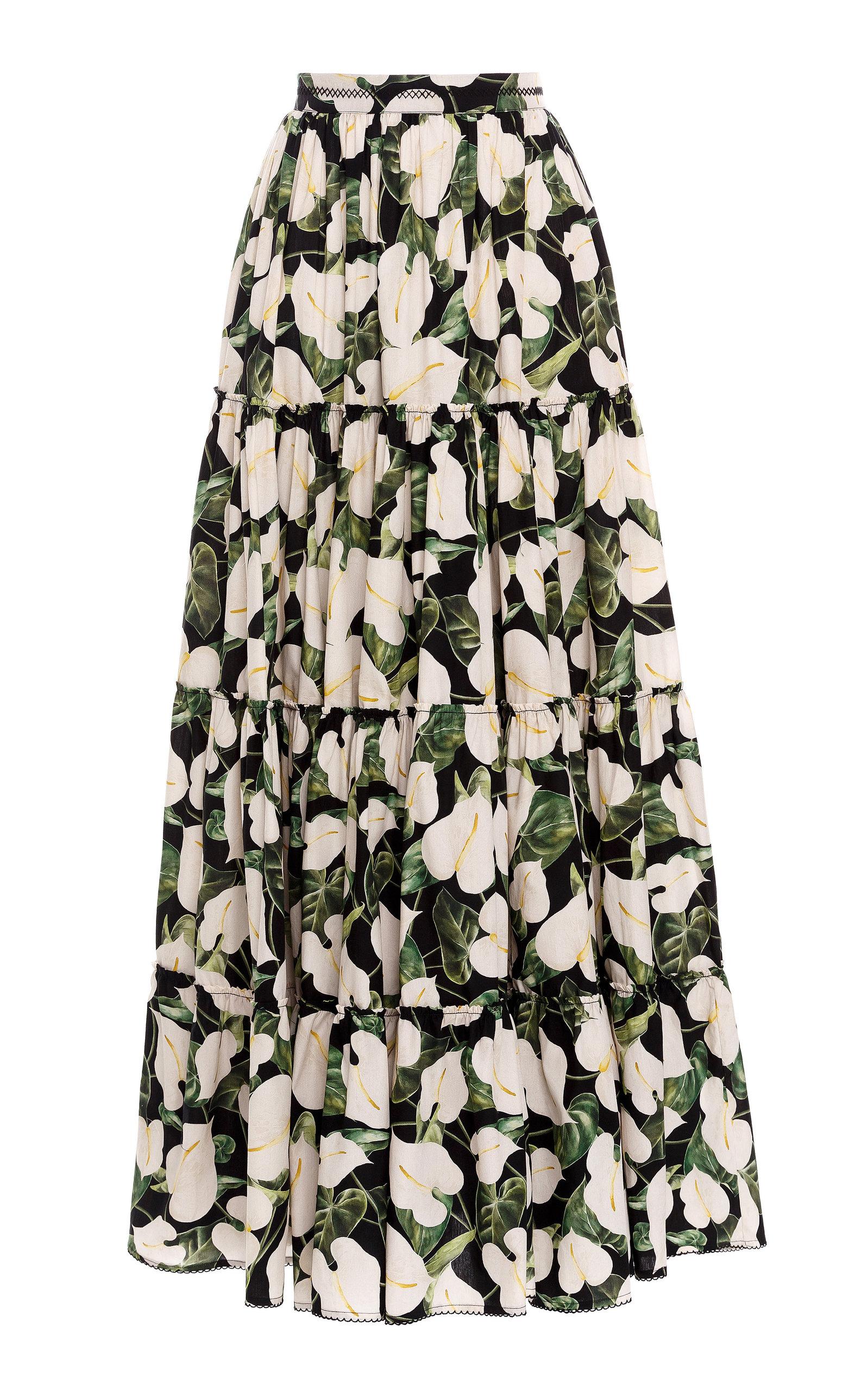 Women's Macadamia Floral Cotton Poplin Maxi Skirt
