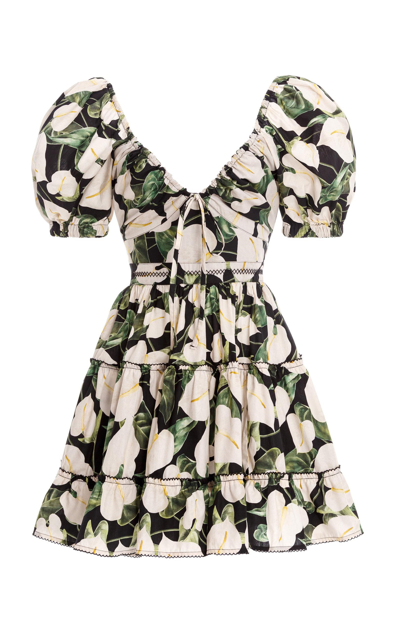 Women's Manzanilla Tiered Floral Cotton Poplin Mini Dress