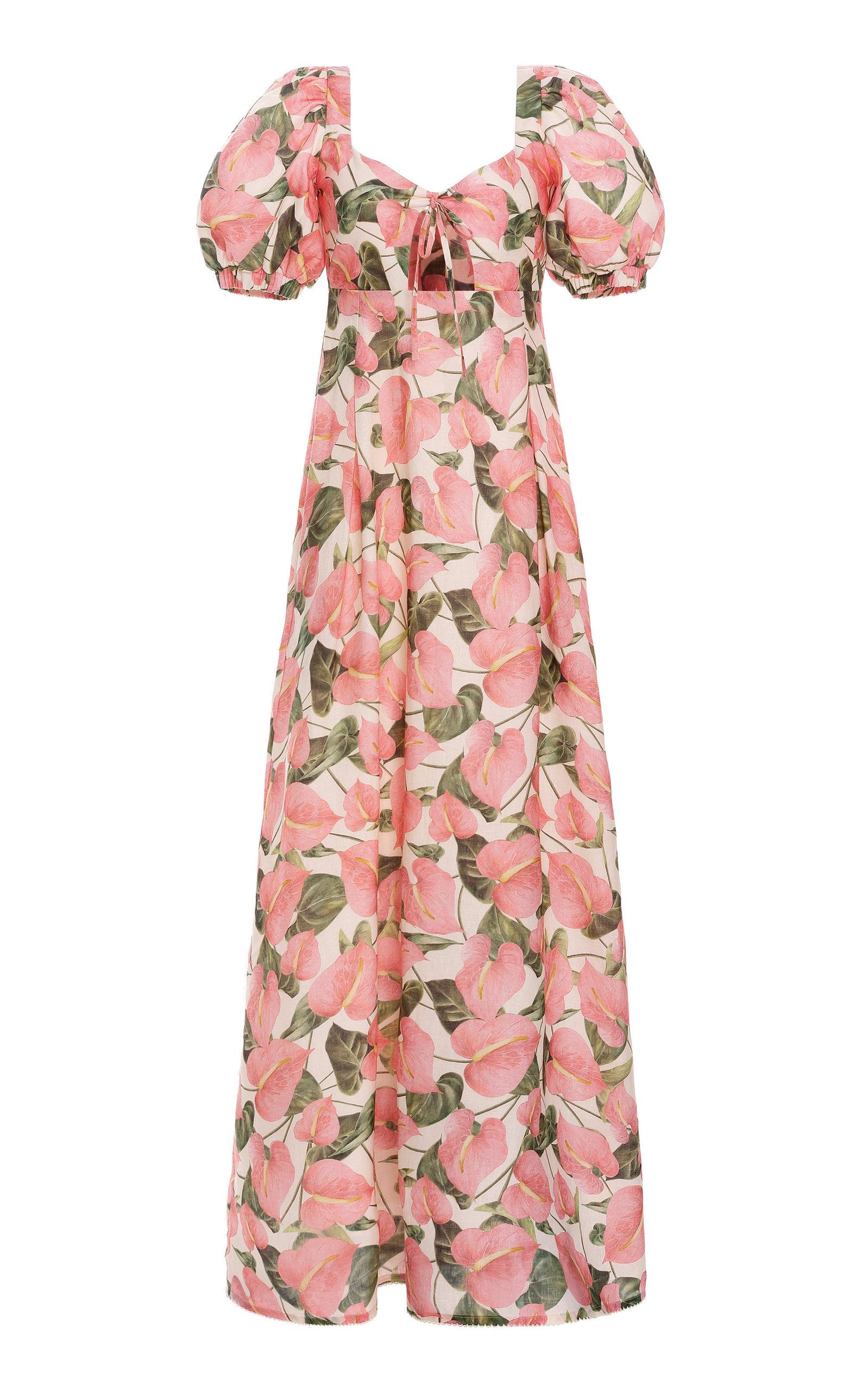 Women's Chocolate Cutout Printed Linen Maxi Dress