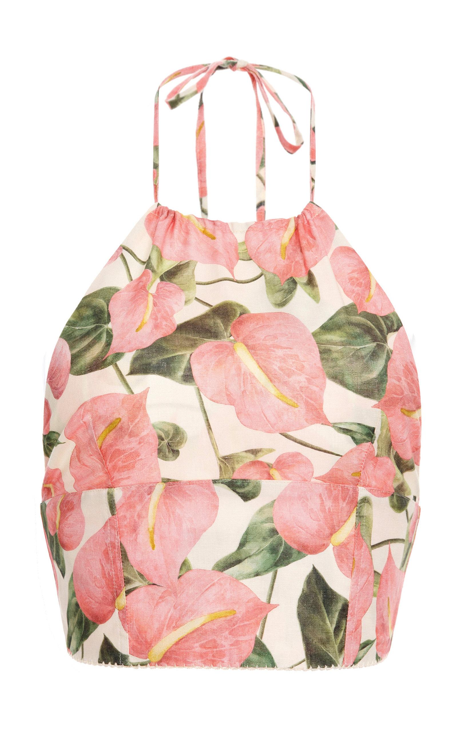 Women's Castaña Printed Cropped Linen Top
