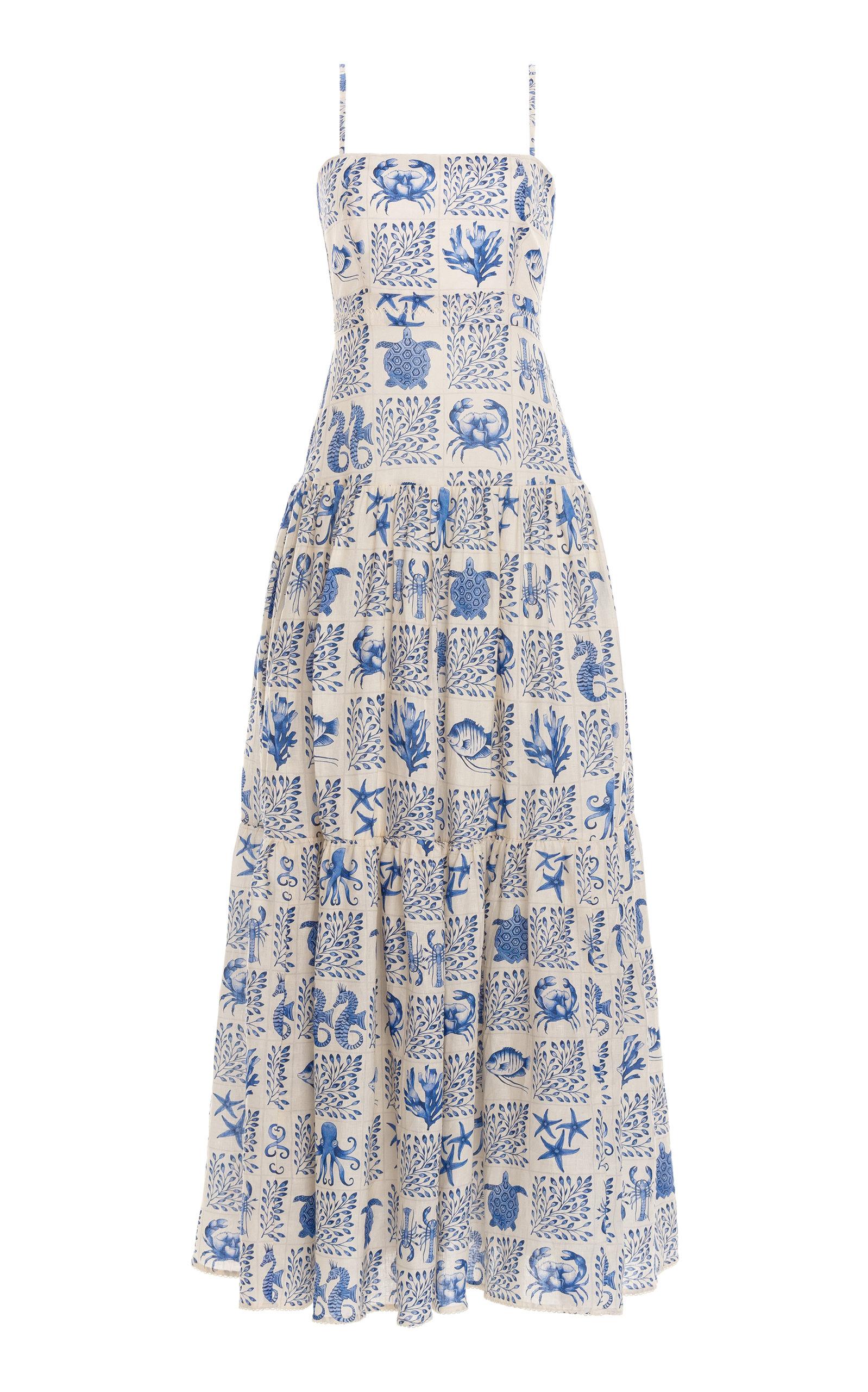 Women's Lima Tiered Printed Linen Maxi Dress