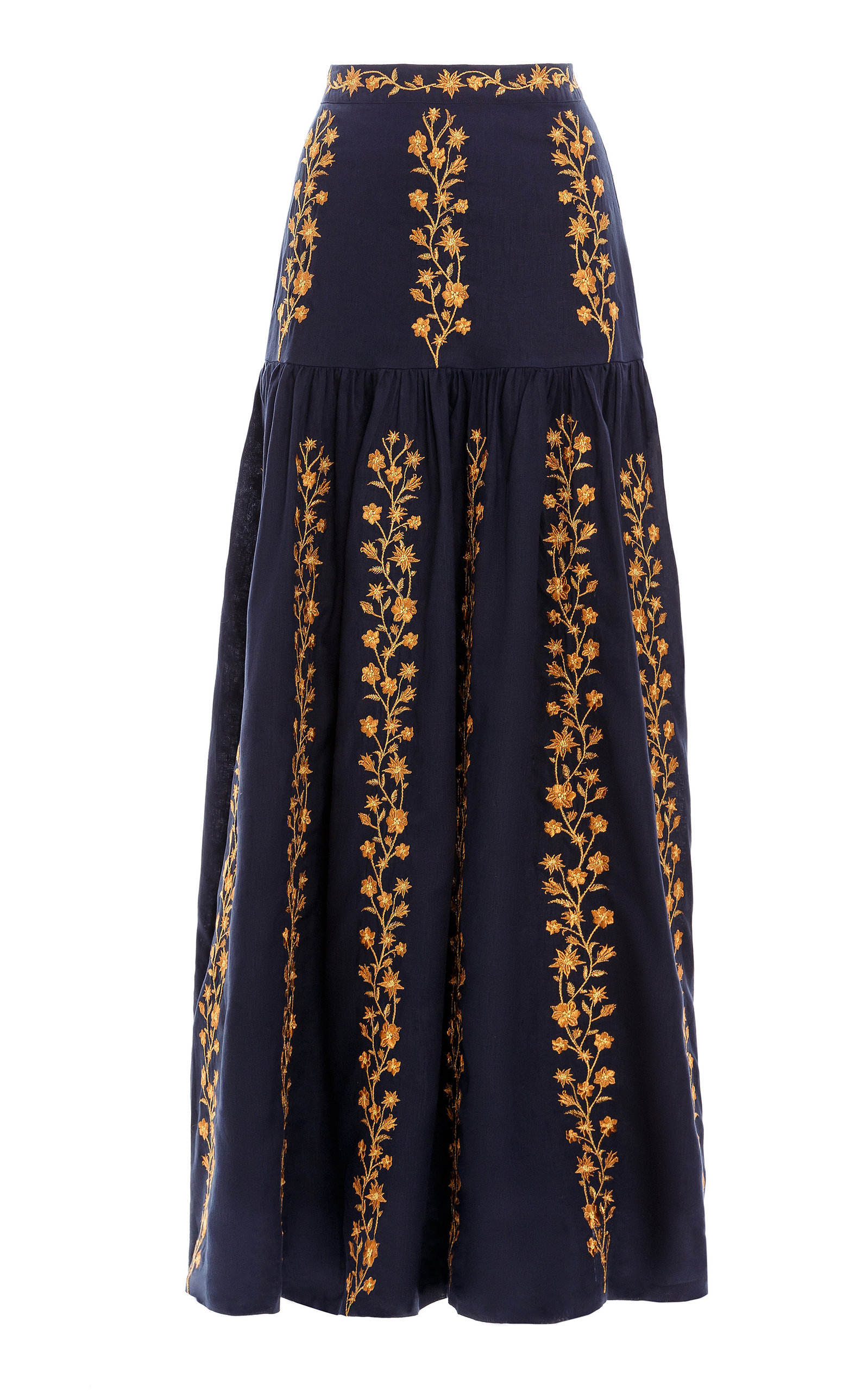 Women's Margarita Embroidered Linen Maxi Skirt