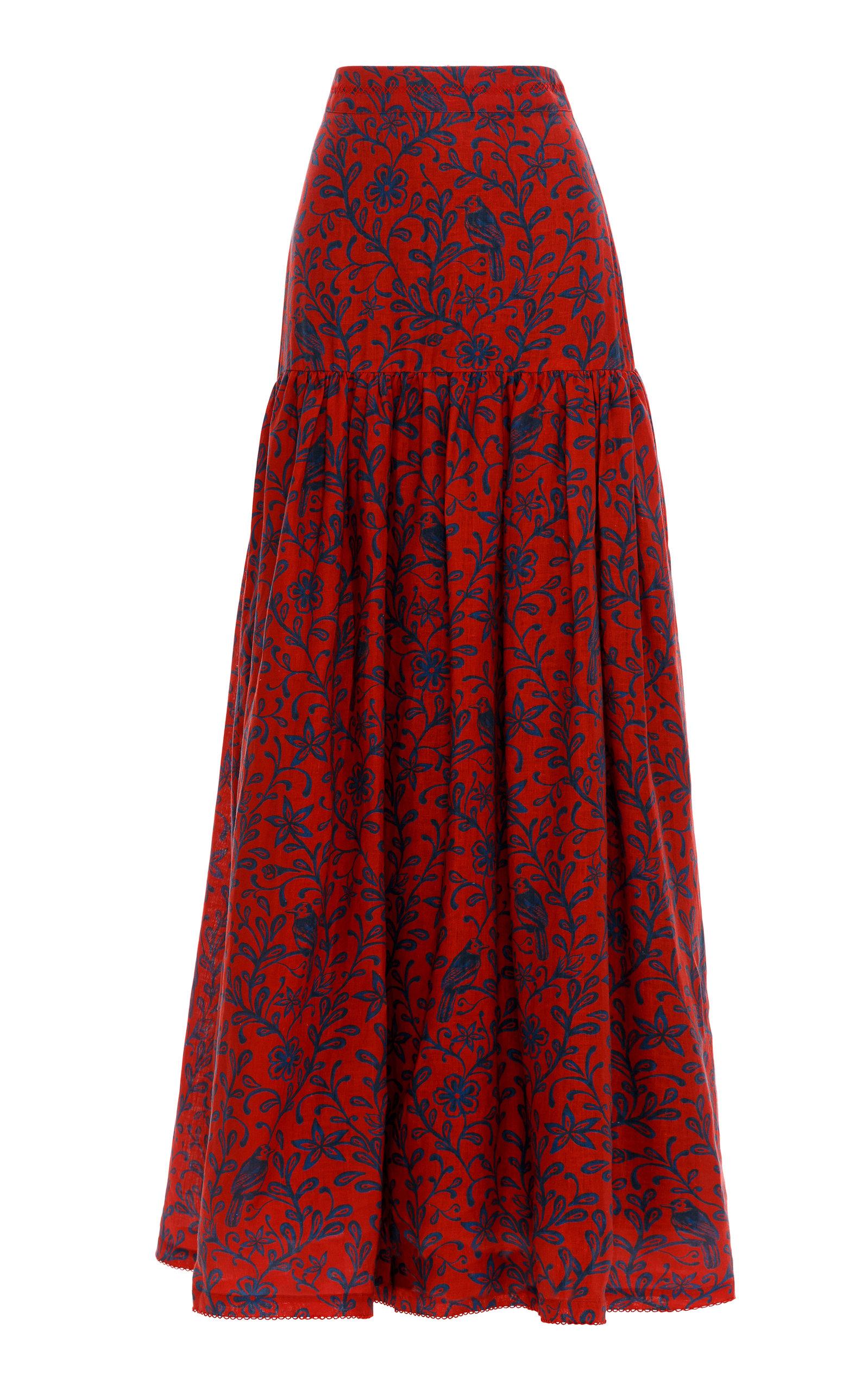 Women's Margarita Tiered Printed Linen Maxi Skirt