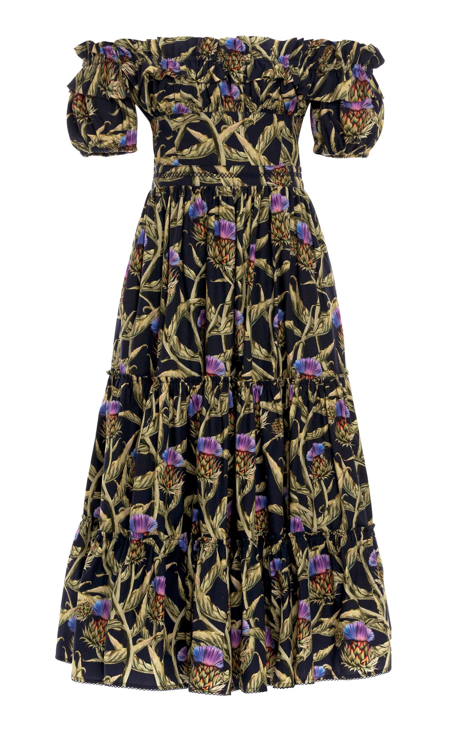 Women's Banana Printed Cotton Poplin Midi Dress