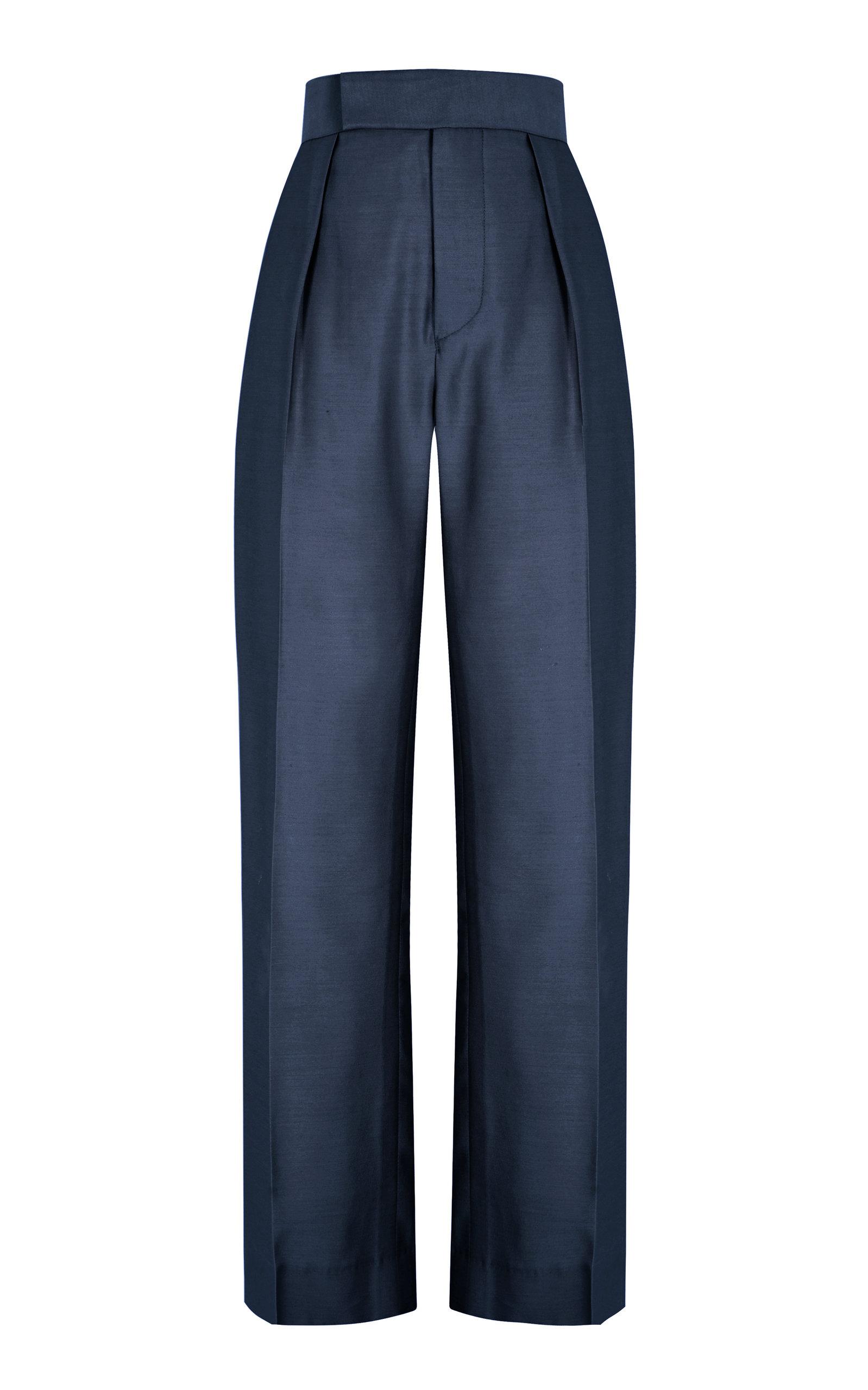 Women's Ludwig Silk-Wool Wide-Leg Pants