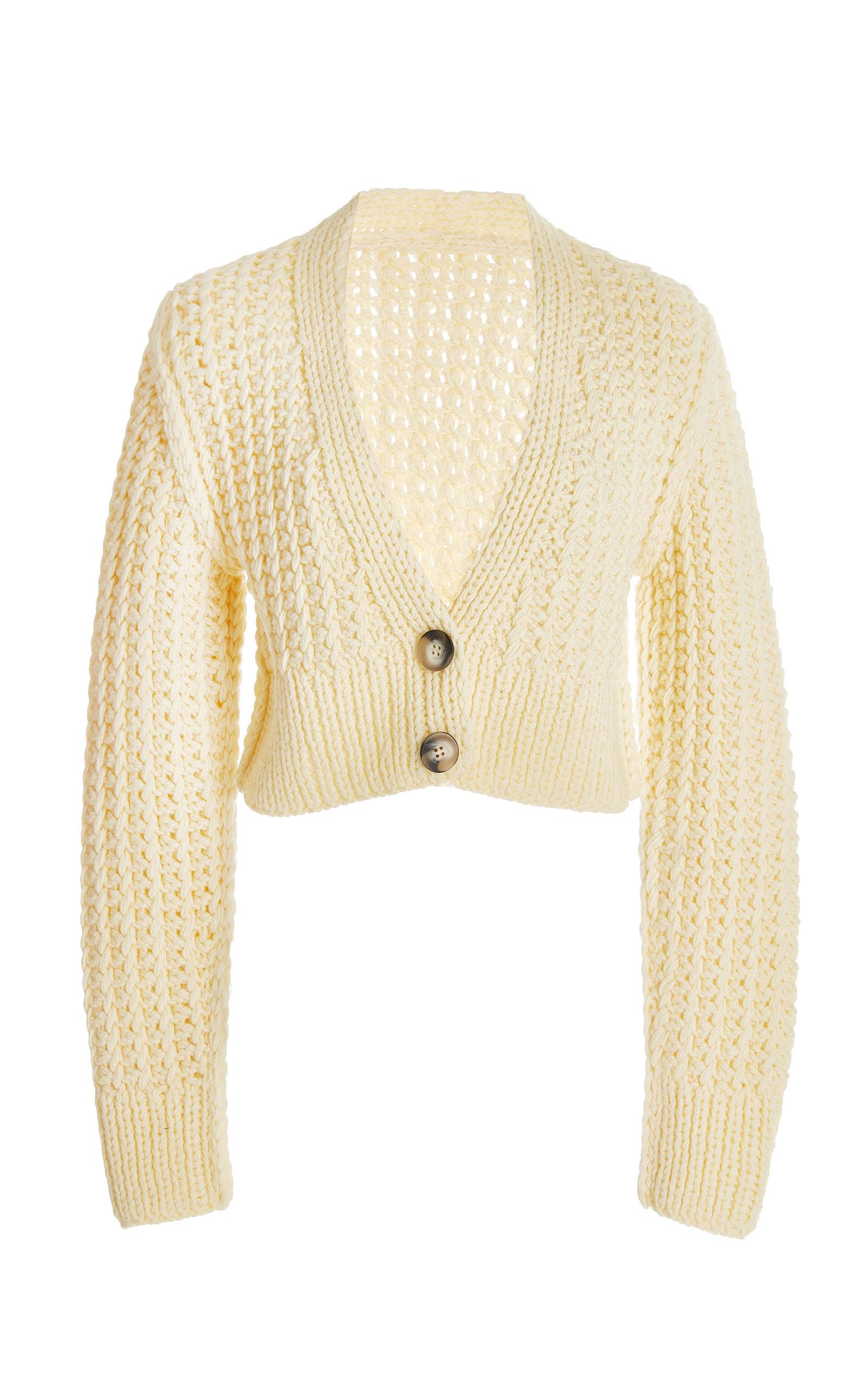 Women's Sabina Cropped Wool-Knit Cardigan