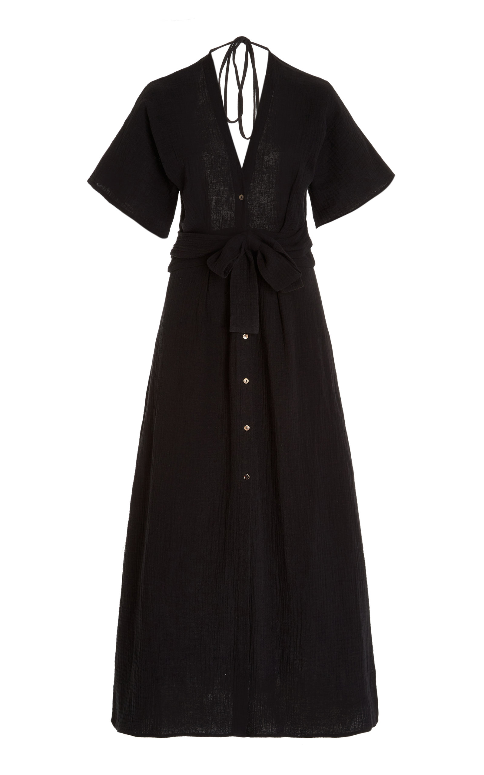 Women's Ines Open-Back Cotton Maxi Shirt Dress