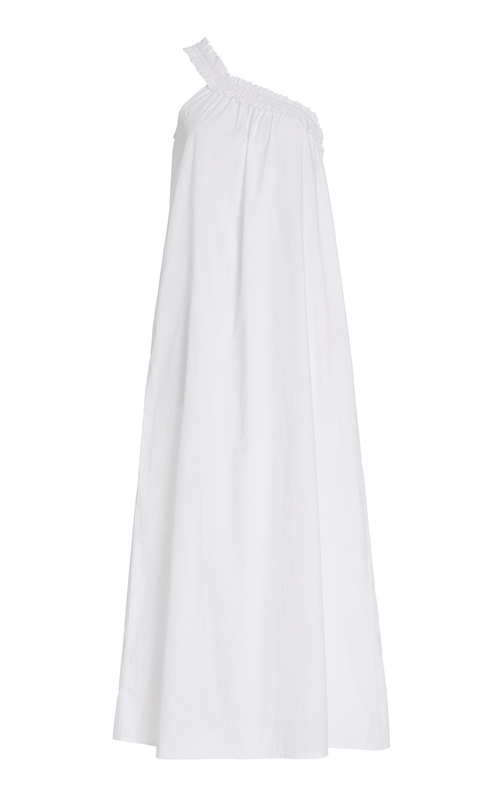 Women's Donatella One-Shoulder Cotton Poplin Maxi Dress