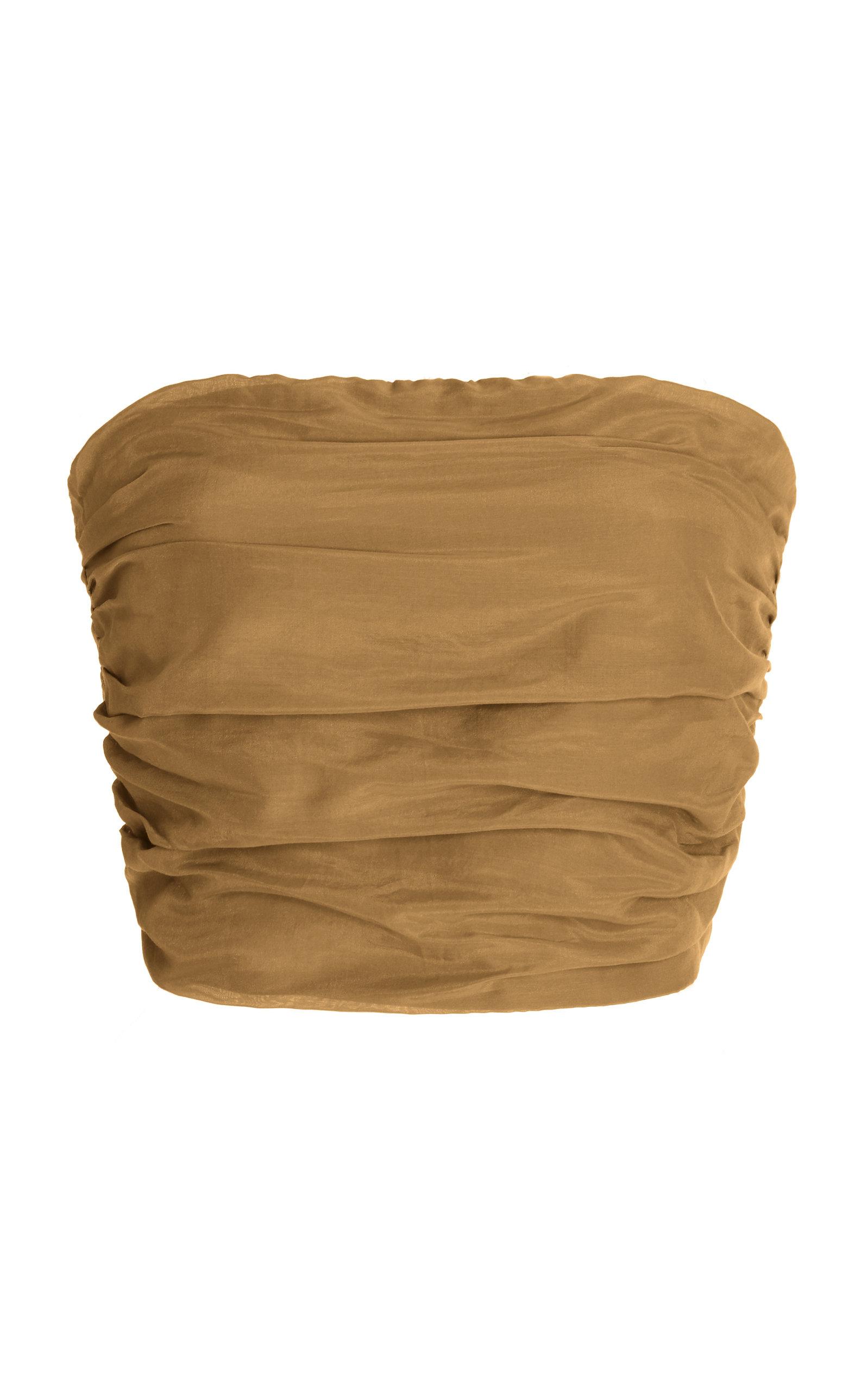 Women's Rae Smocked Cotton-Silk Strapless Crop Top