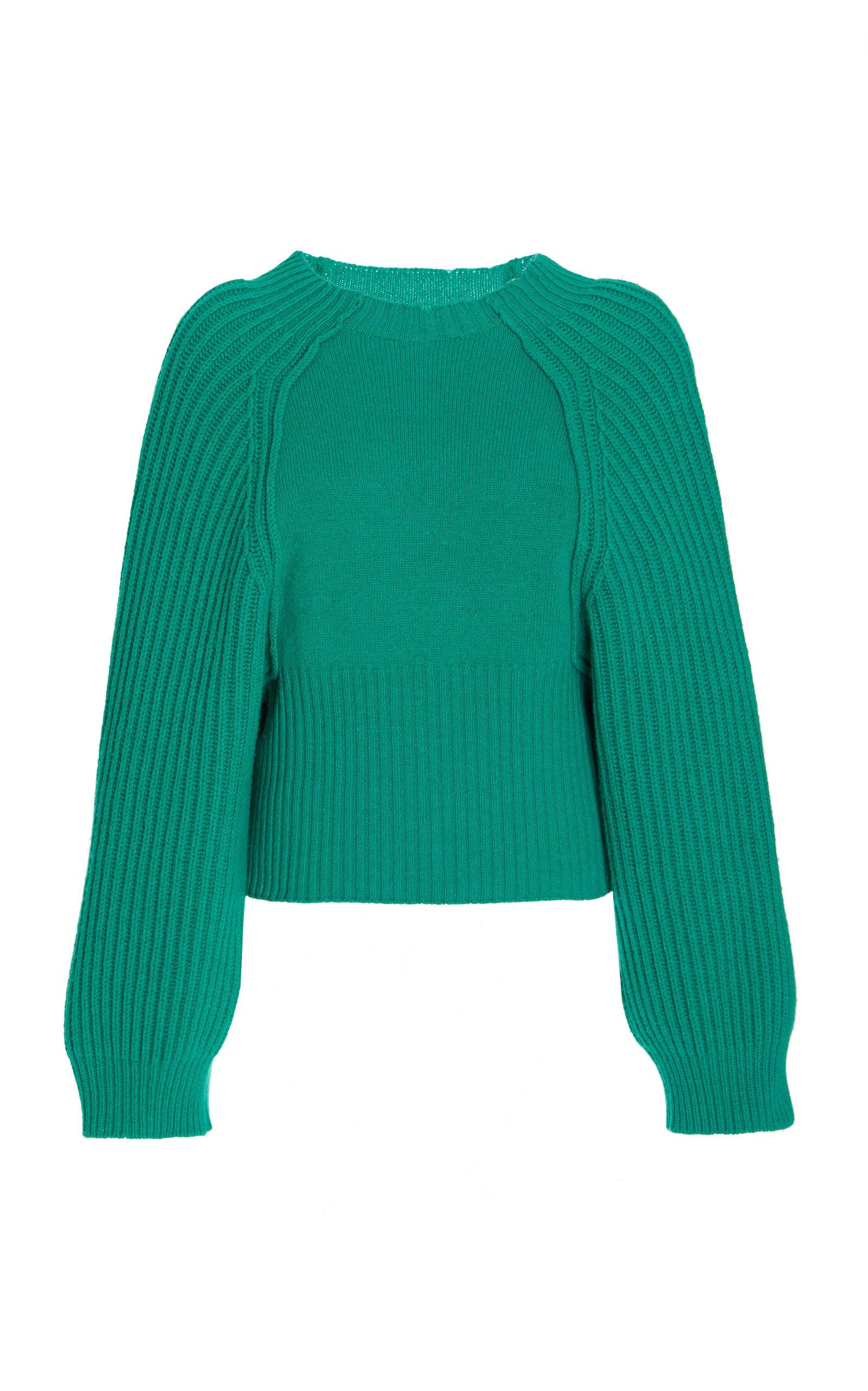 Stella McCartney – Women's Puff-Sleeve Cashmere-Wool Cropped Sweater – Green – Moda Operandi