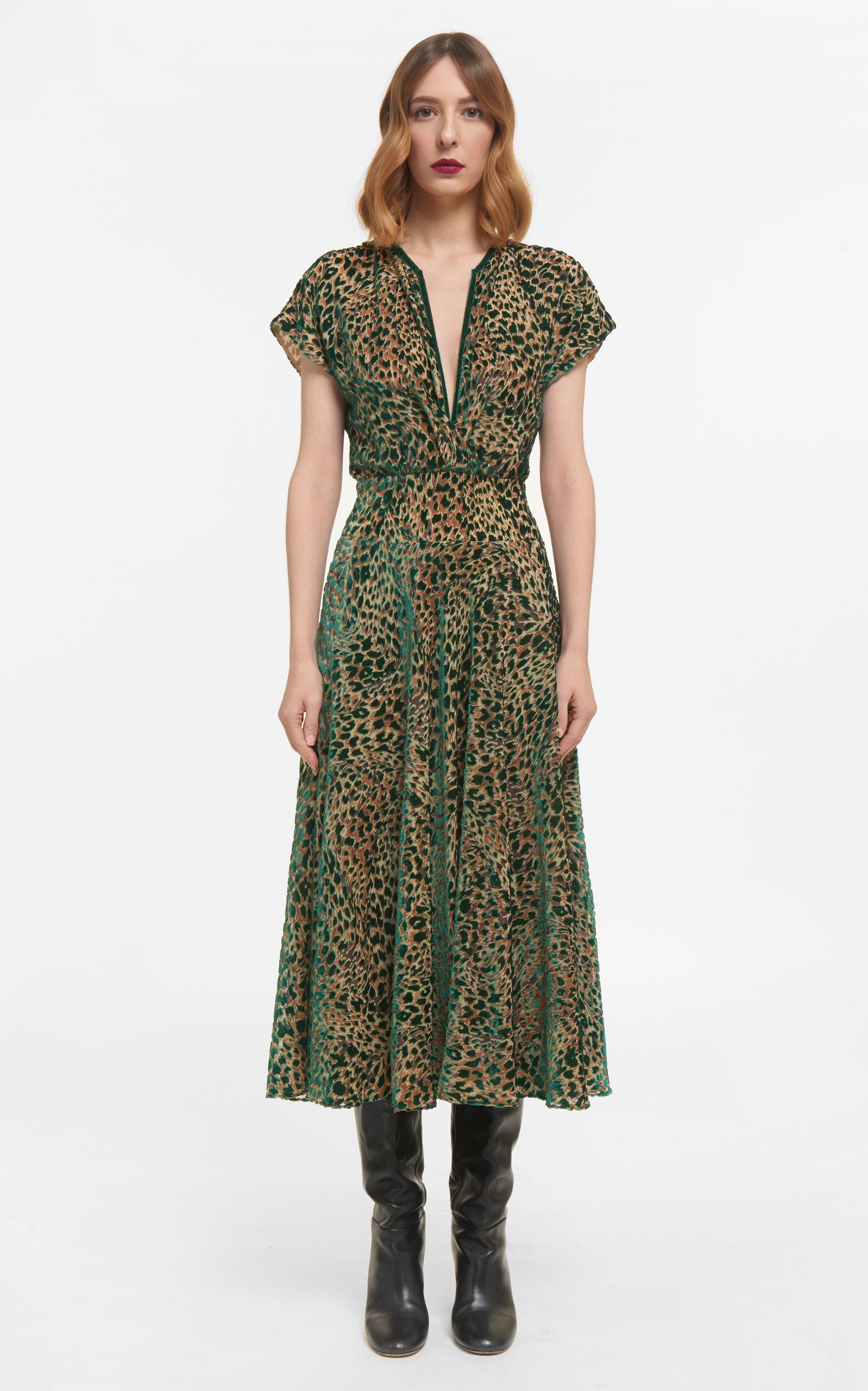 Women's Sasha Flocked Leopard Velvet Devore Dress With Flutter Sleeves