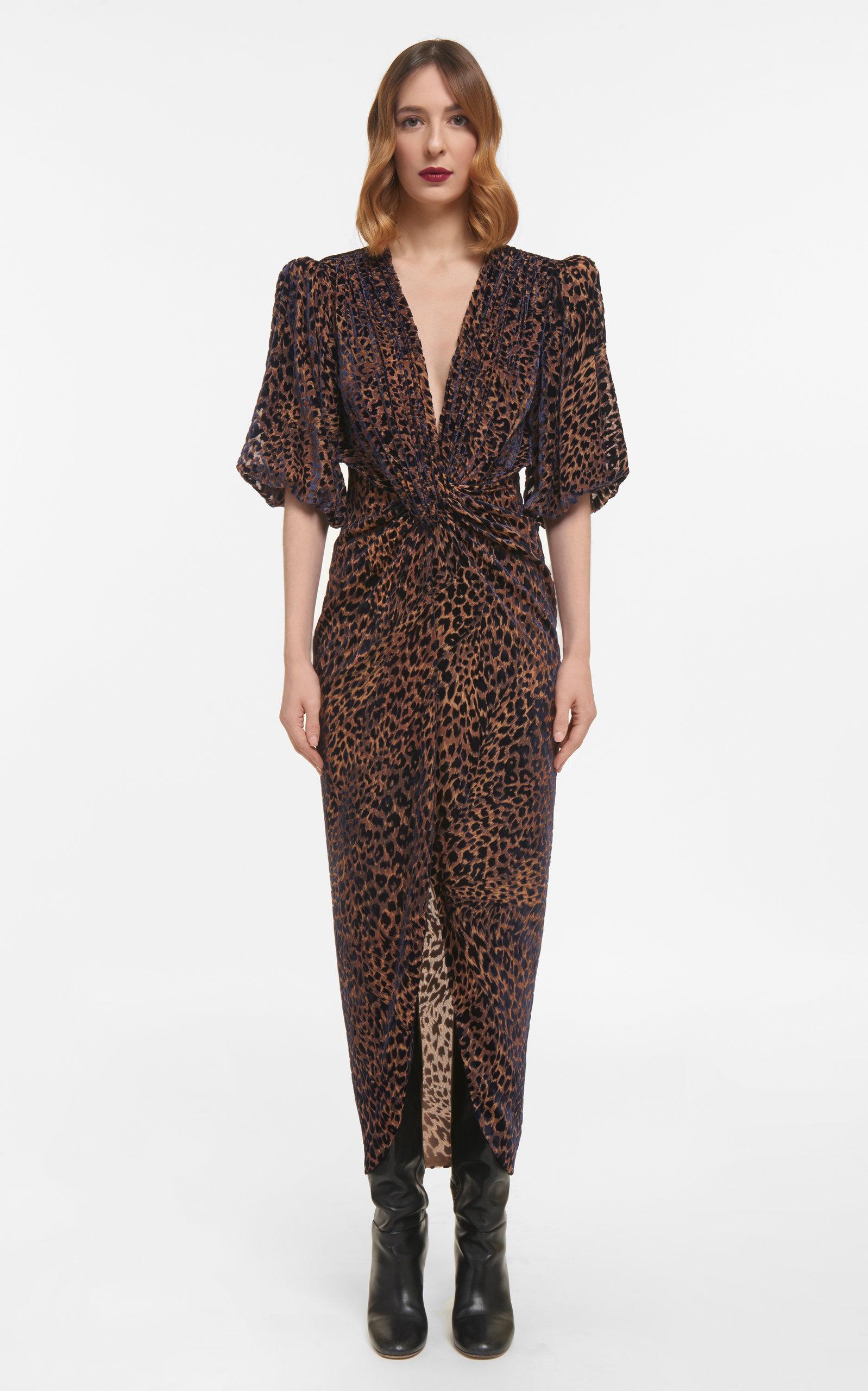 Women's Laria Flocked Leopard Velvet Devore Draped Dress With Knotted Waist Detail