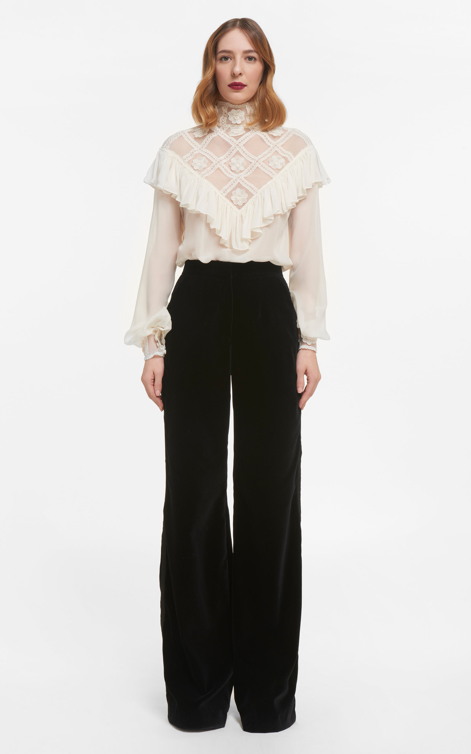 Women's Elsie Silk Chiffon Blouse With Ruffled Illusion Neckline & Embroidered Details
