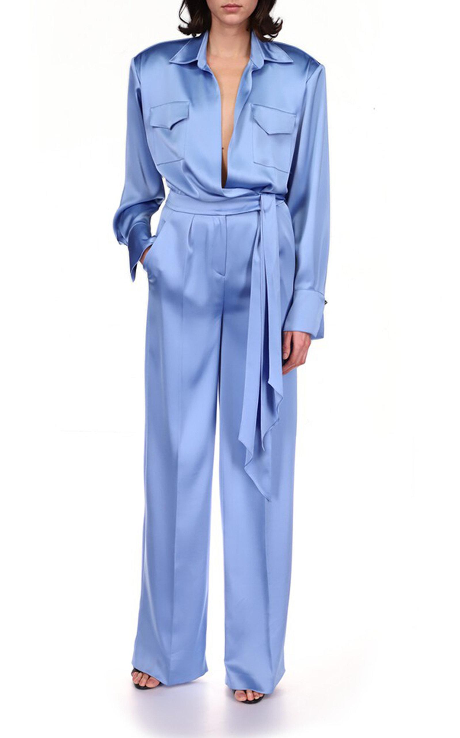 Women's Long Sleeve Satin Jumpsuit
