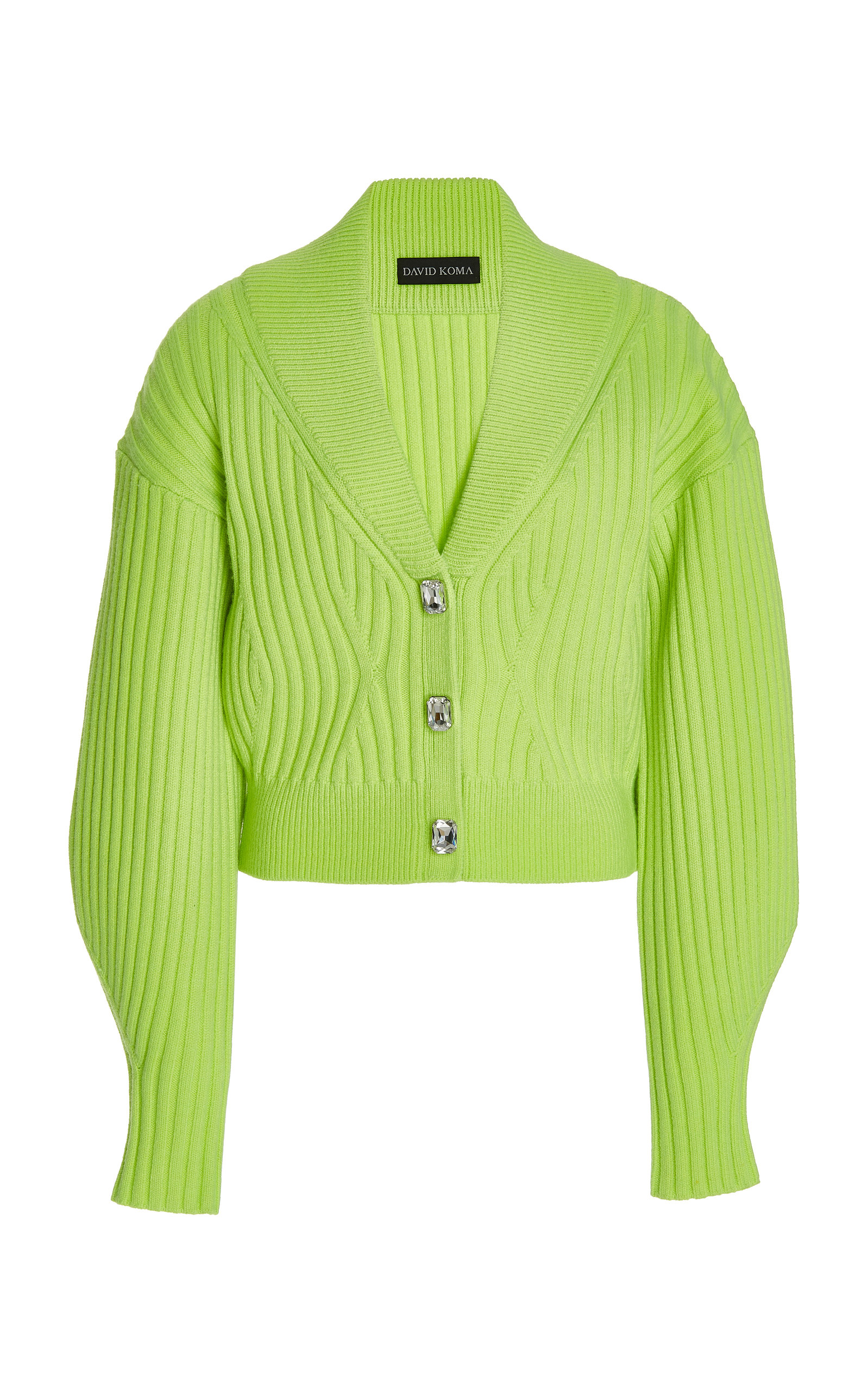 Women's Crystal-Buttoned Ribbed Knit Cardigan