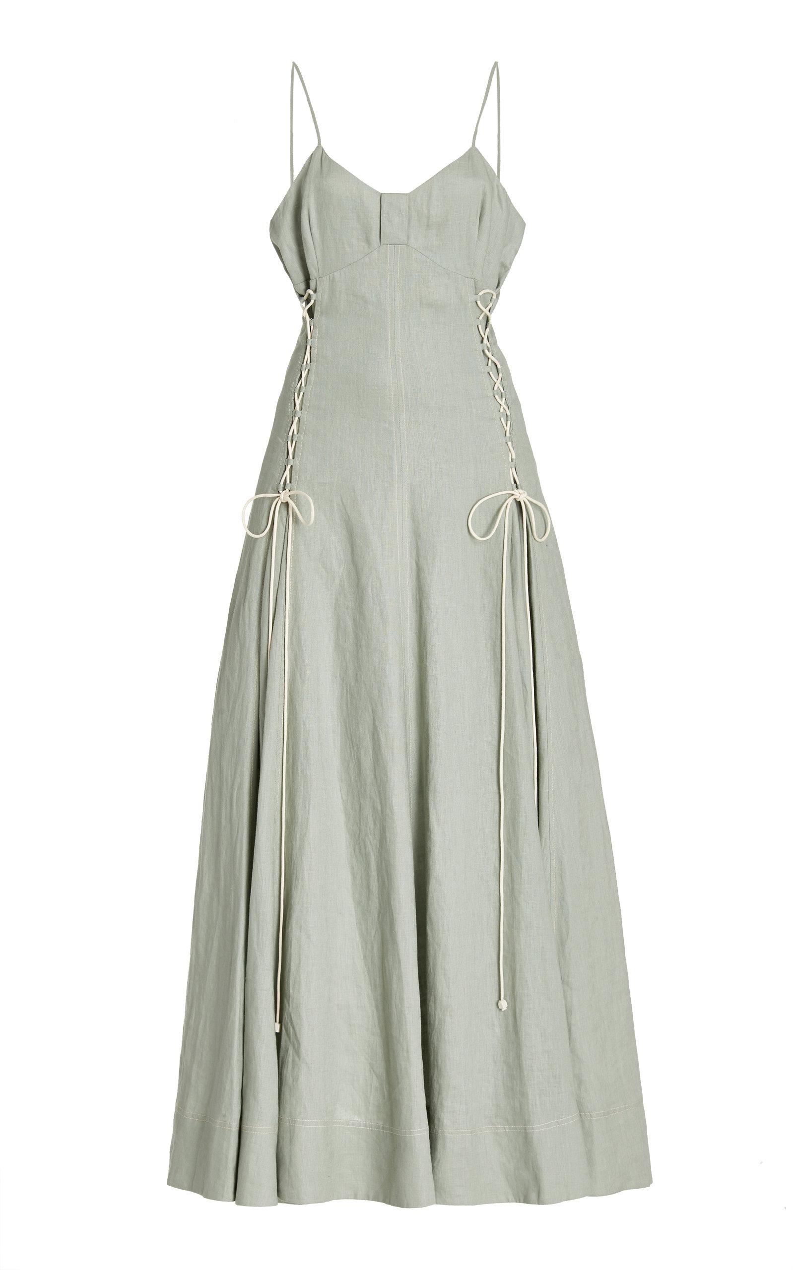 ALÉMAIS - Women's Ivy Lace-Up Linen Maxi Dress - Green - Moda Operandi