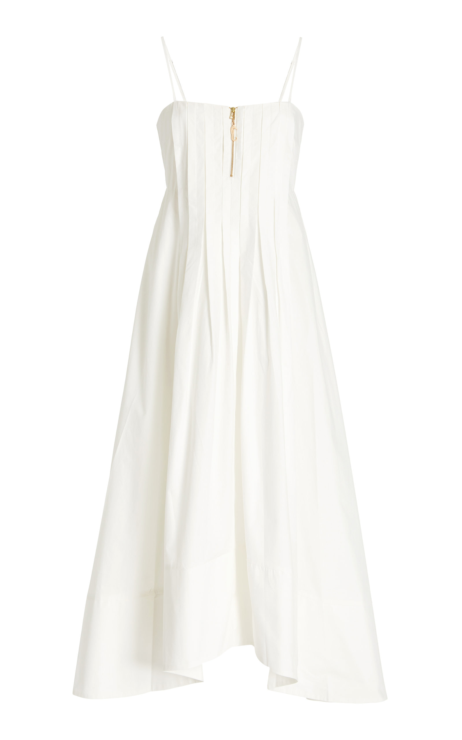ALÉMAIS - Women's Selene Pleated Cotton Dress - White - Moda Operandi