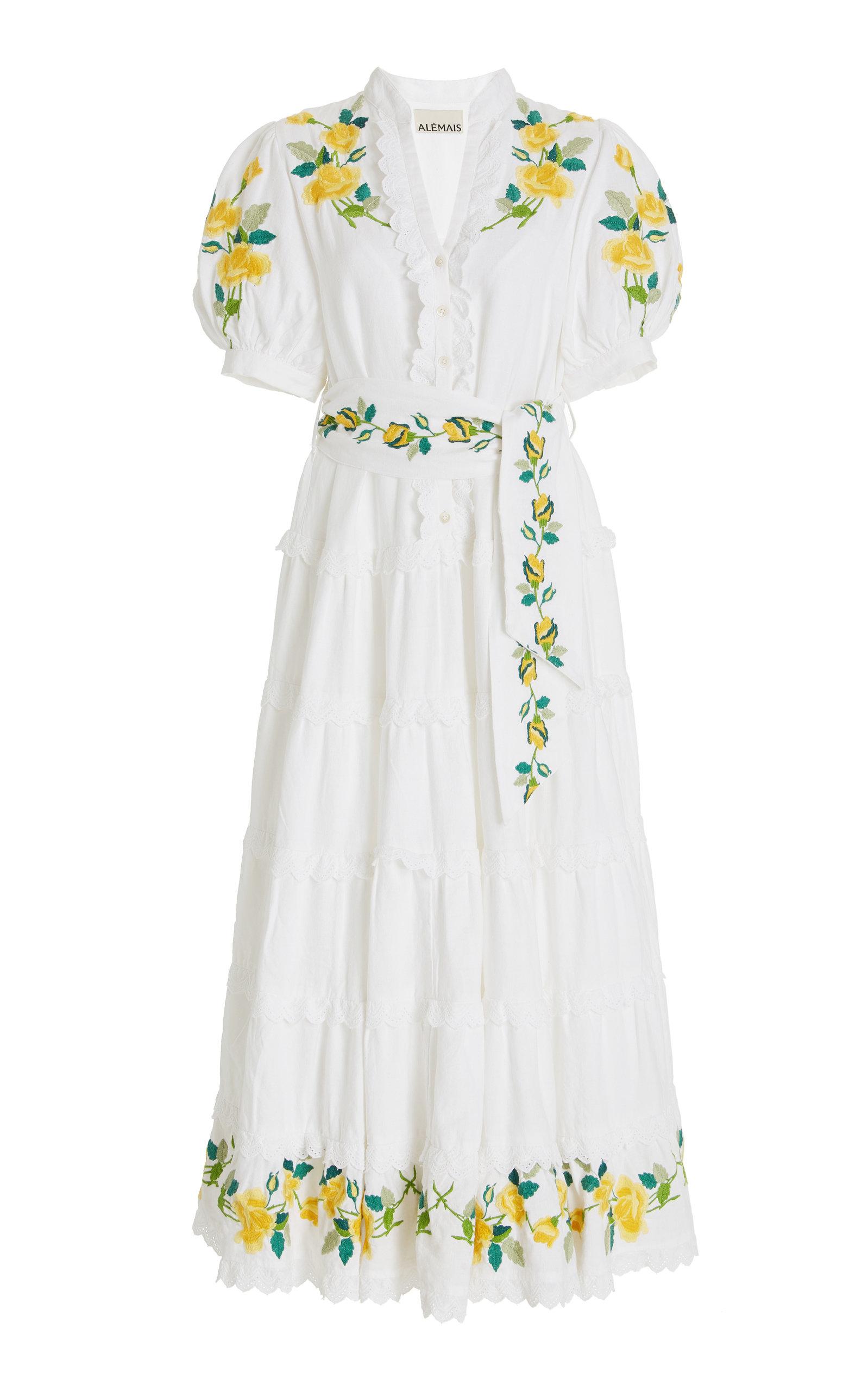 Women's Rosa Embroidered Cotton-Linen Maxi Dress