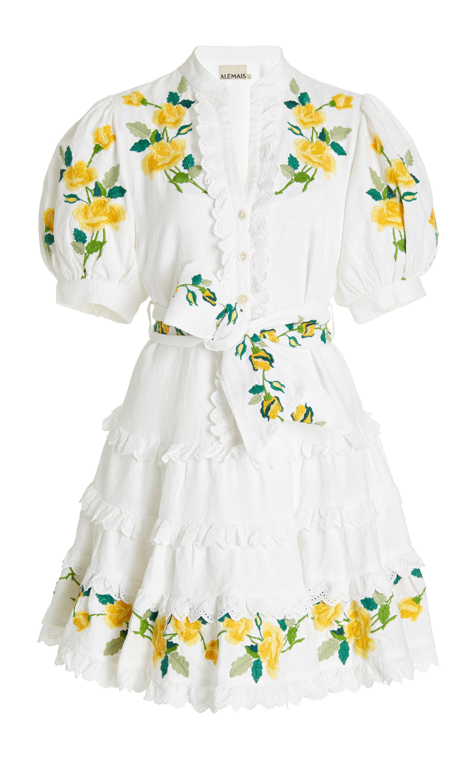 Women's Rosa Embroidered Linen-Cotton Mini Dress