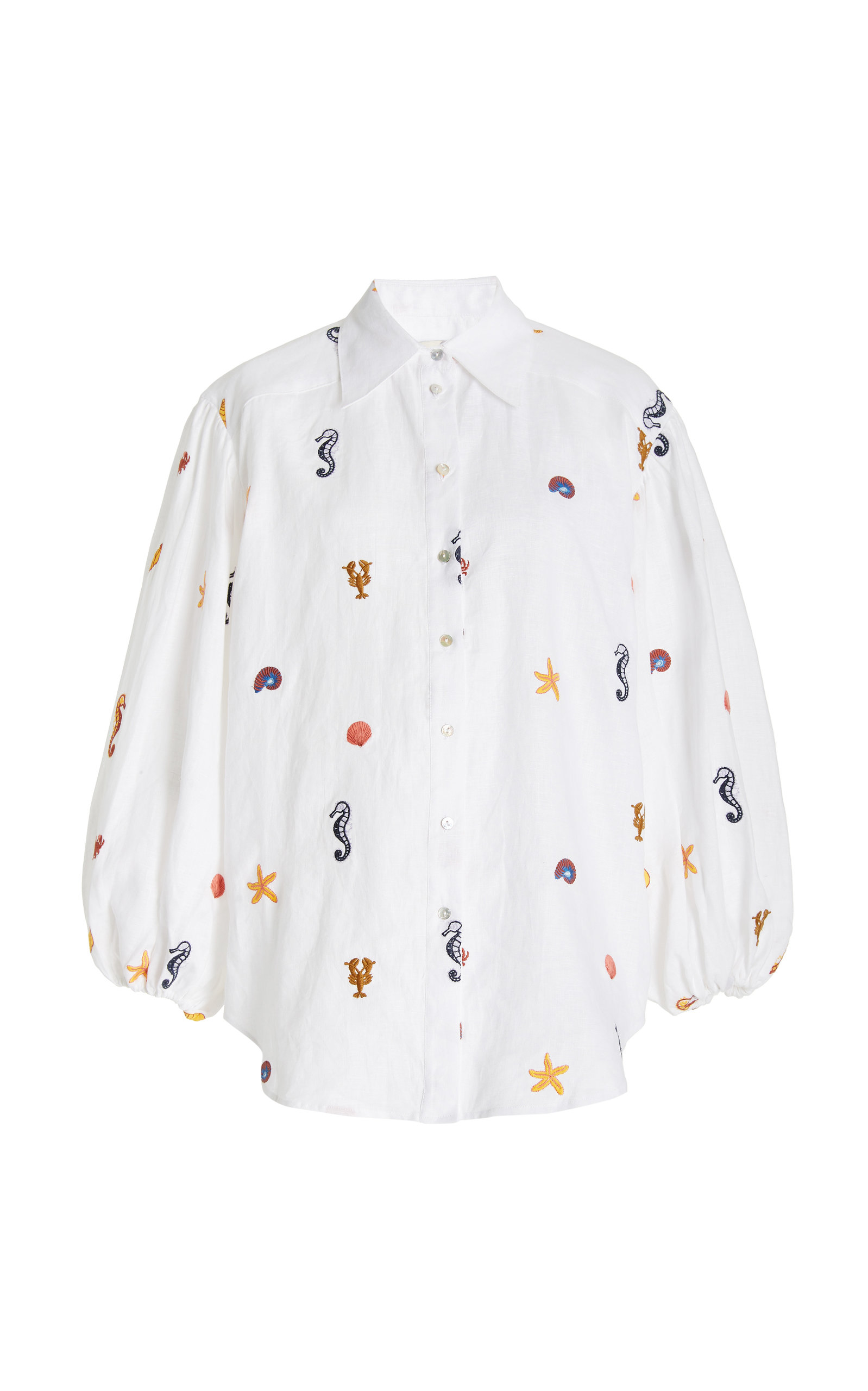 Women's Under The Sea Embroidered Linen Shirt