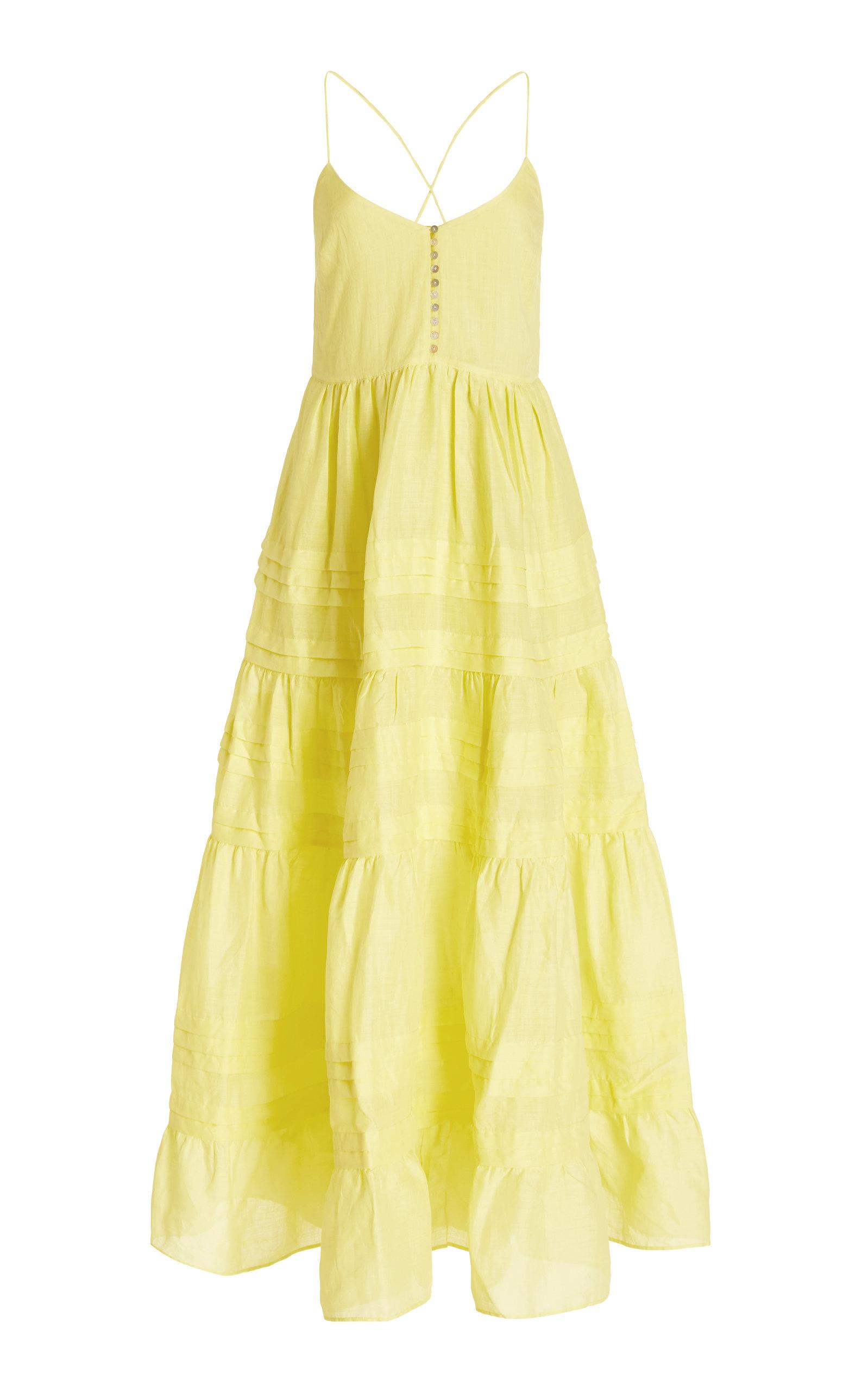 ALÉMAIS - Women's Fluer Tiered Ramie Midi Dress - Yellow - Moda Operandi