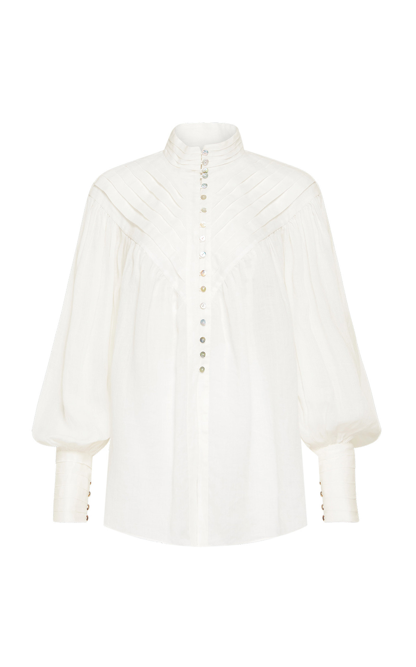 ALÉMAIS - Women's Halcyon Tuck-Front Ramie Top - White - Moda Operandi