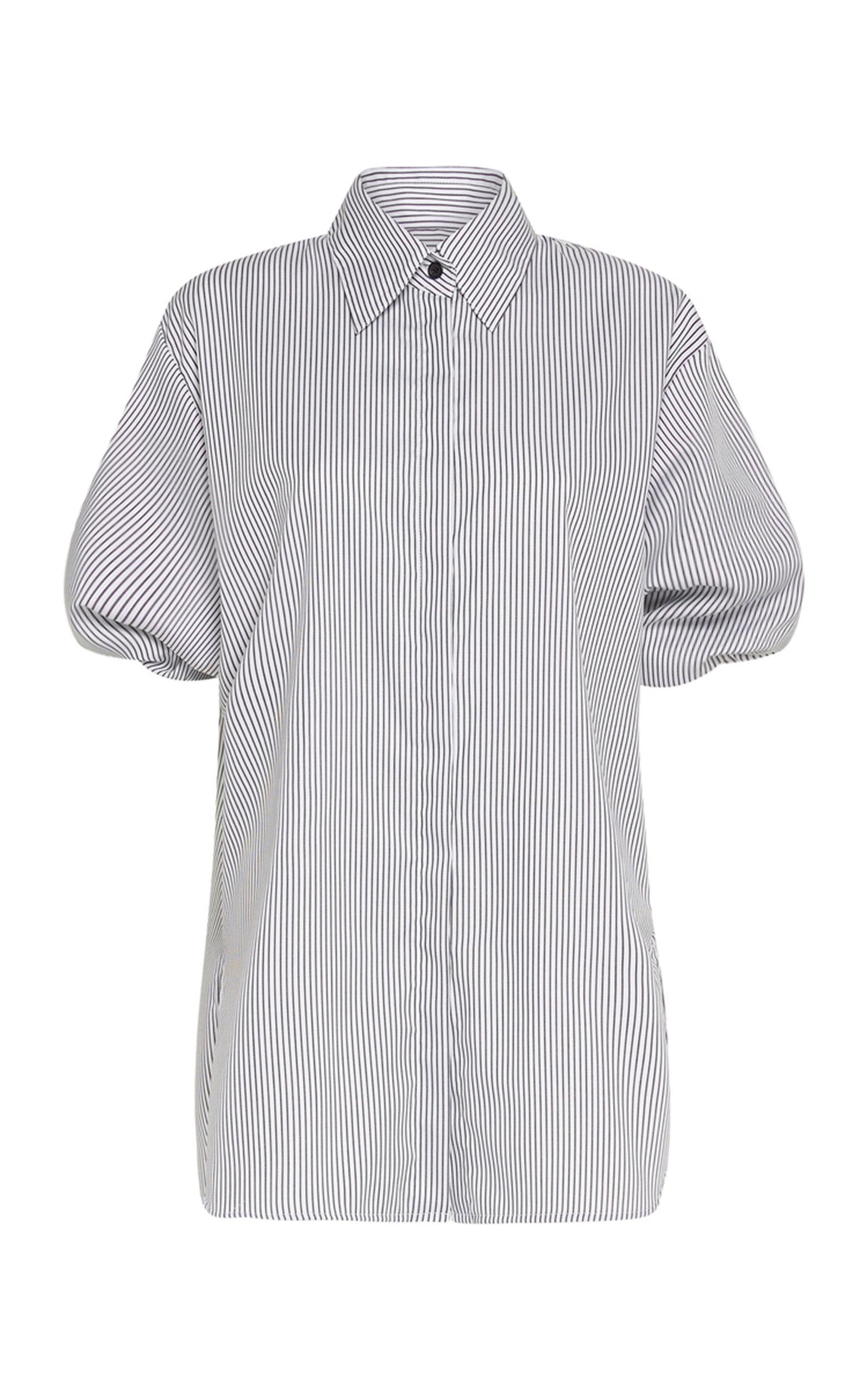 Women's Puff-Sleeve Striped Cotton Shirt