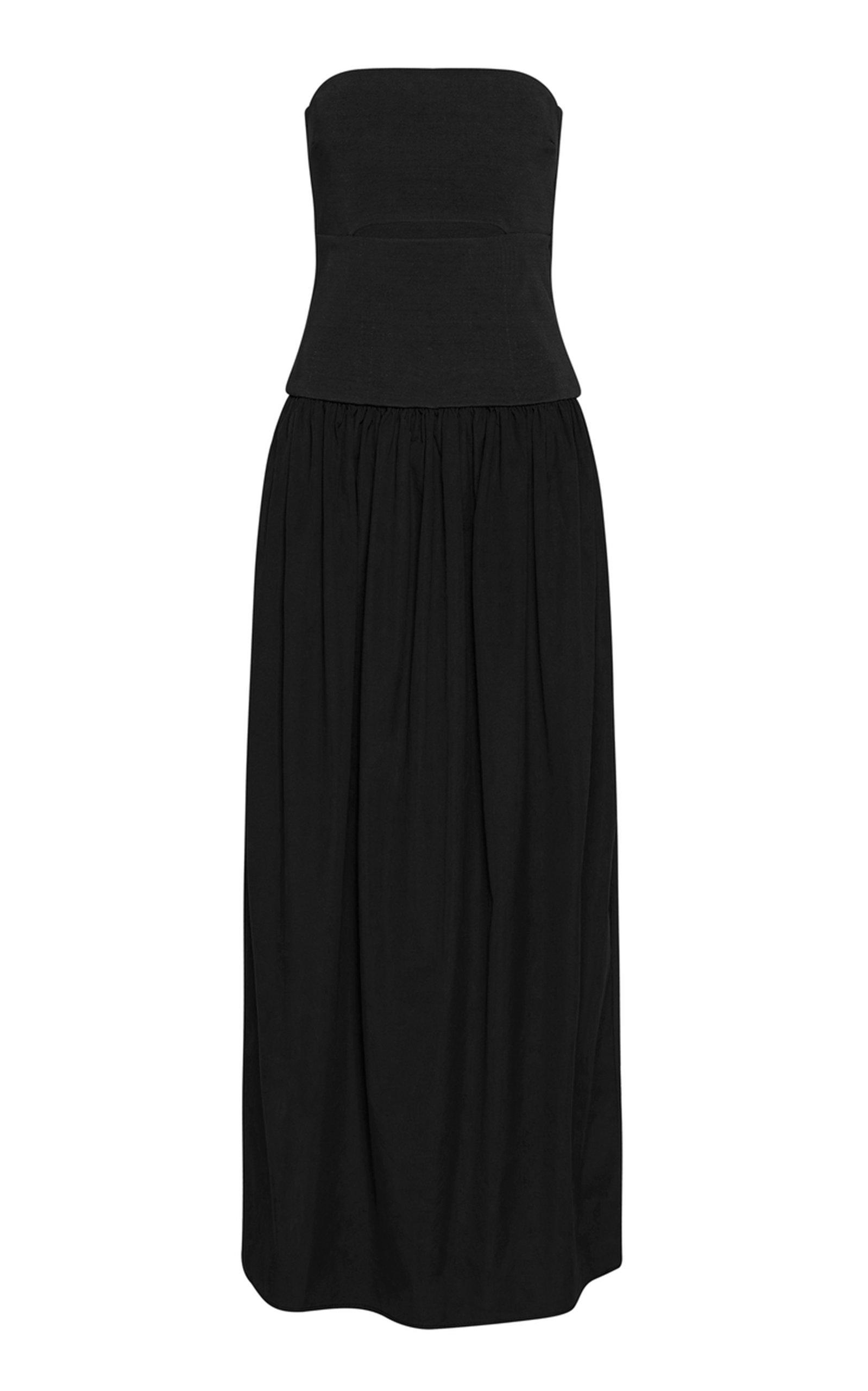 Women's Cutout Cotton Strapless Maxi Dress