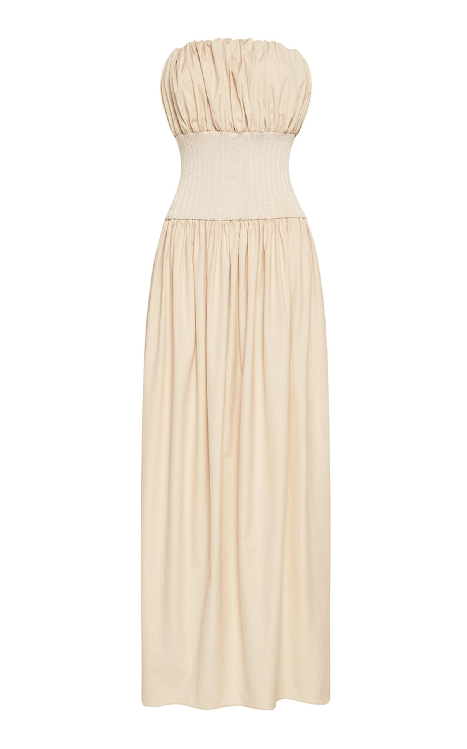 Women's Strapless Cotton Maxi Dress