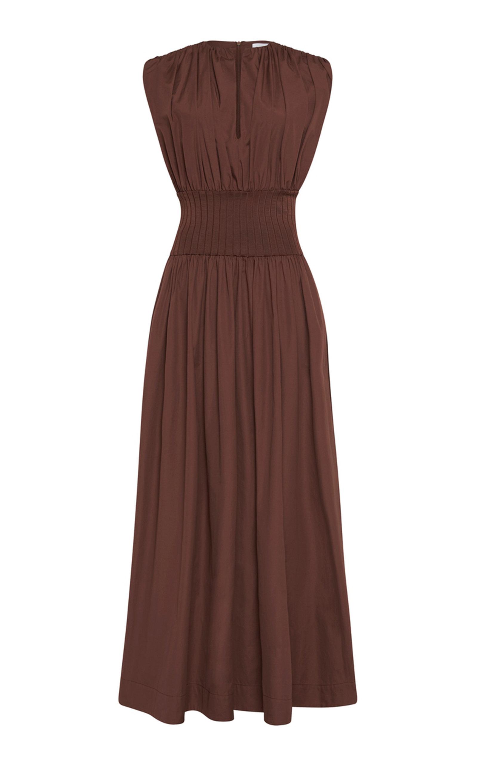 Women's Gathered Cotton Maxi Dress