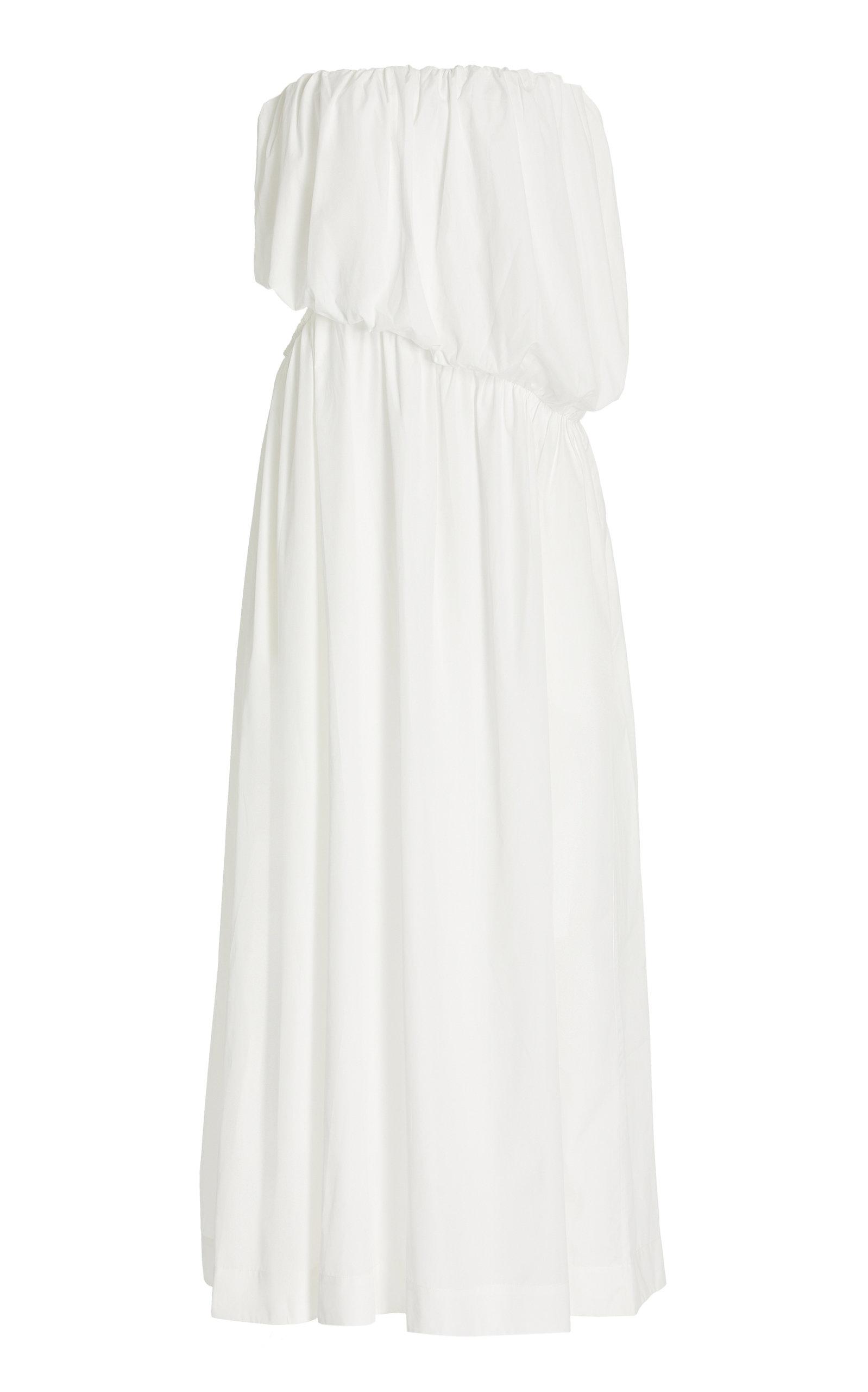 Women's Cutout Draped Cotton Strapless Maxi Dress