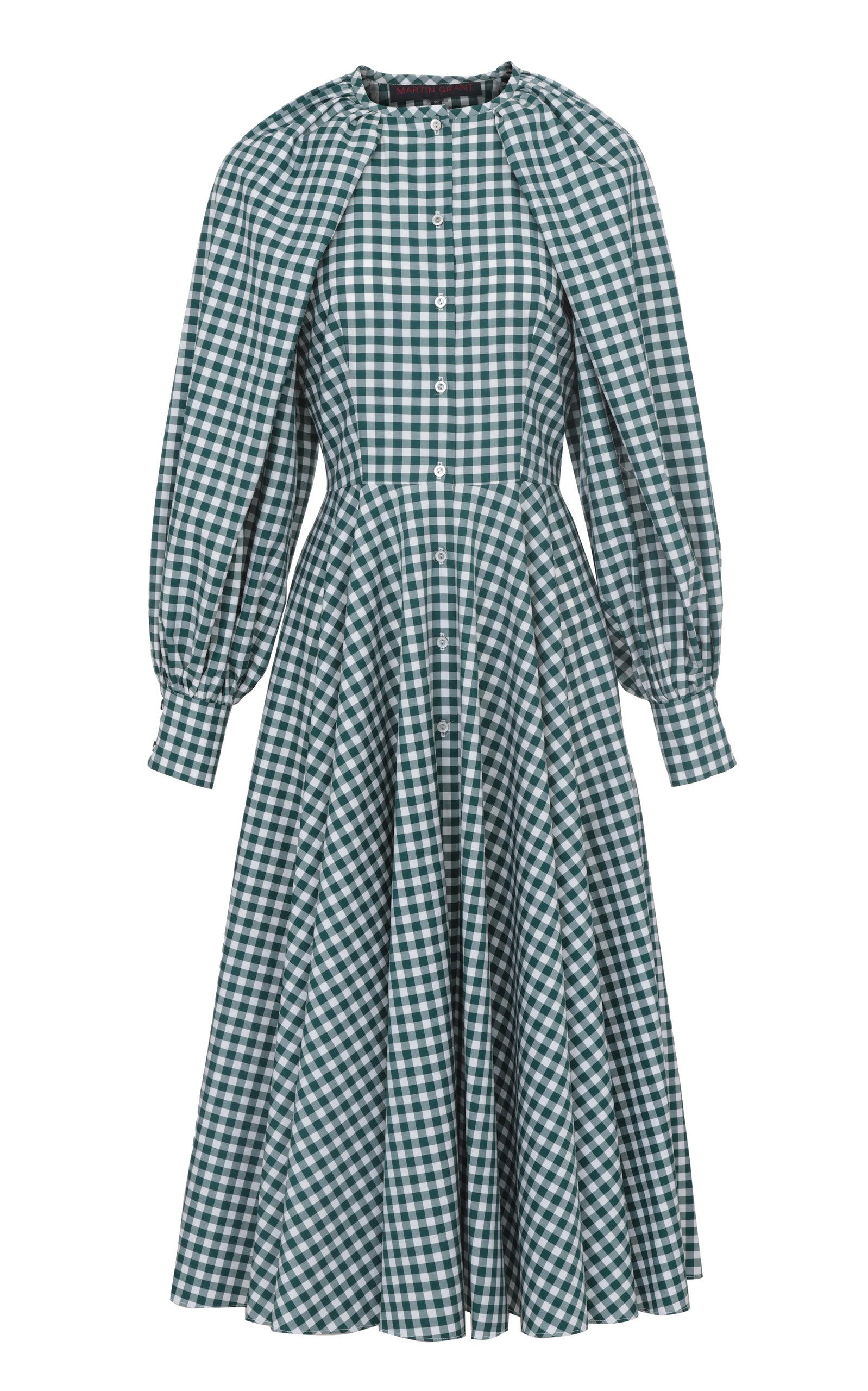 Women's Balloon-Sleeve Gingham-Checked Cotton Midi Dress