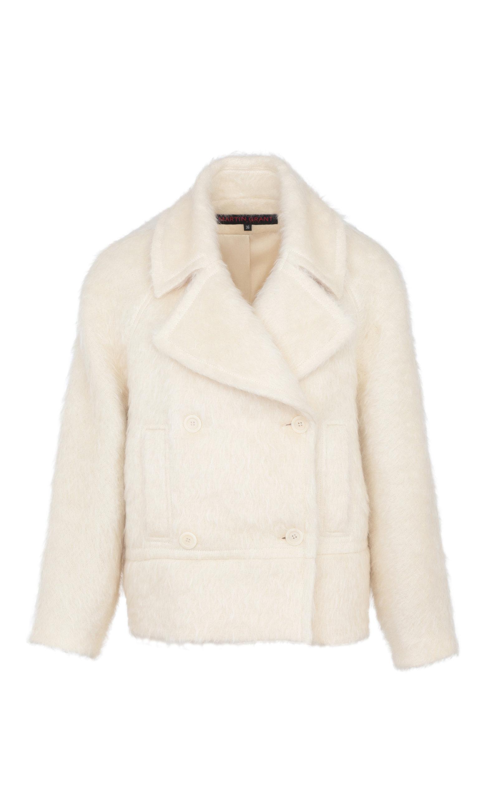 Women's Brushed Mohair-Blend Pea Coat