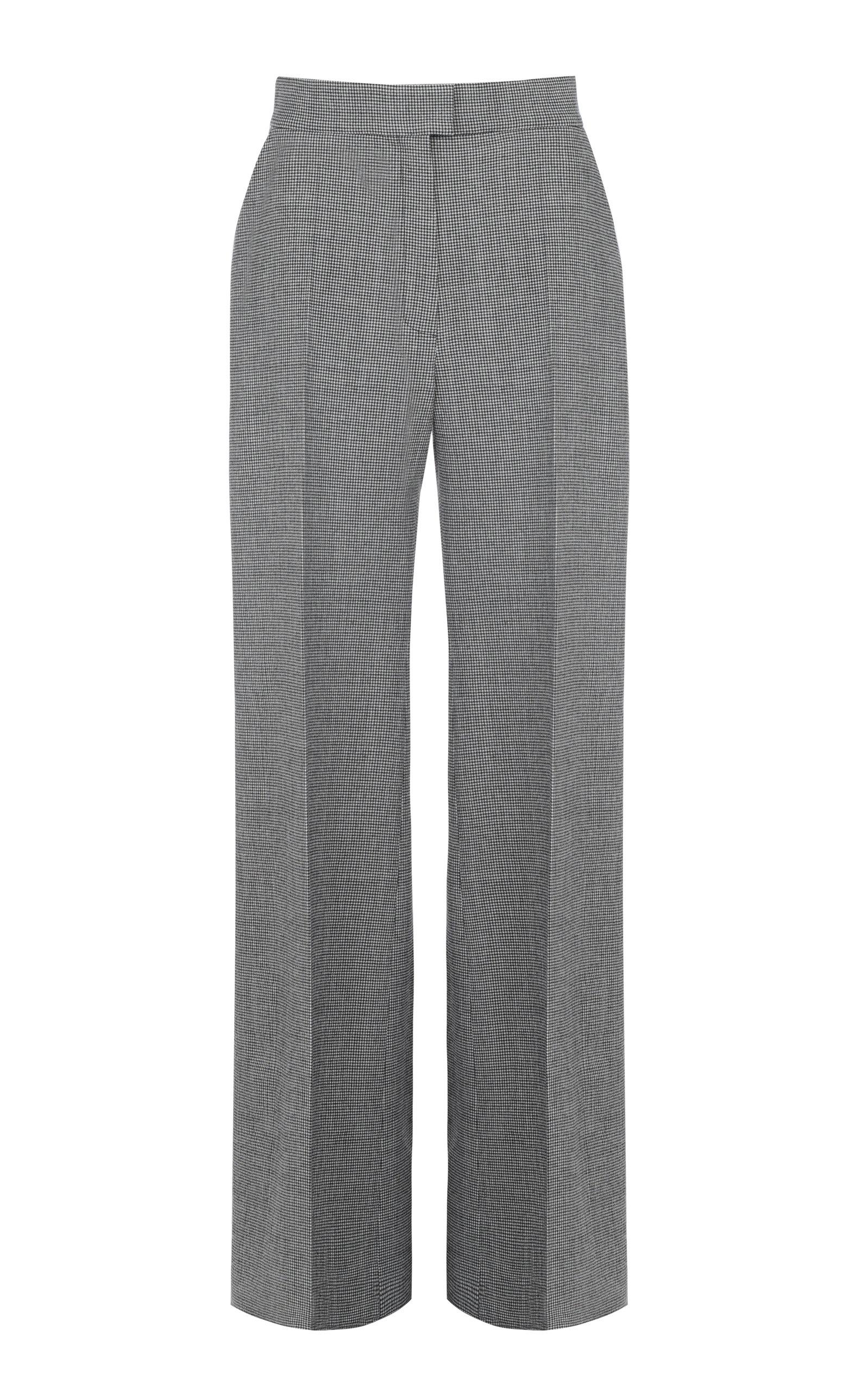 Women's Printed High-Waist Wide-Leg Virgin Wool-Blend Pants