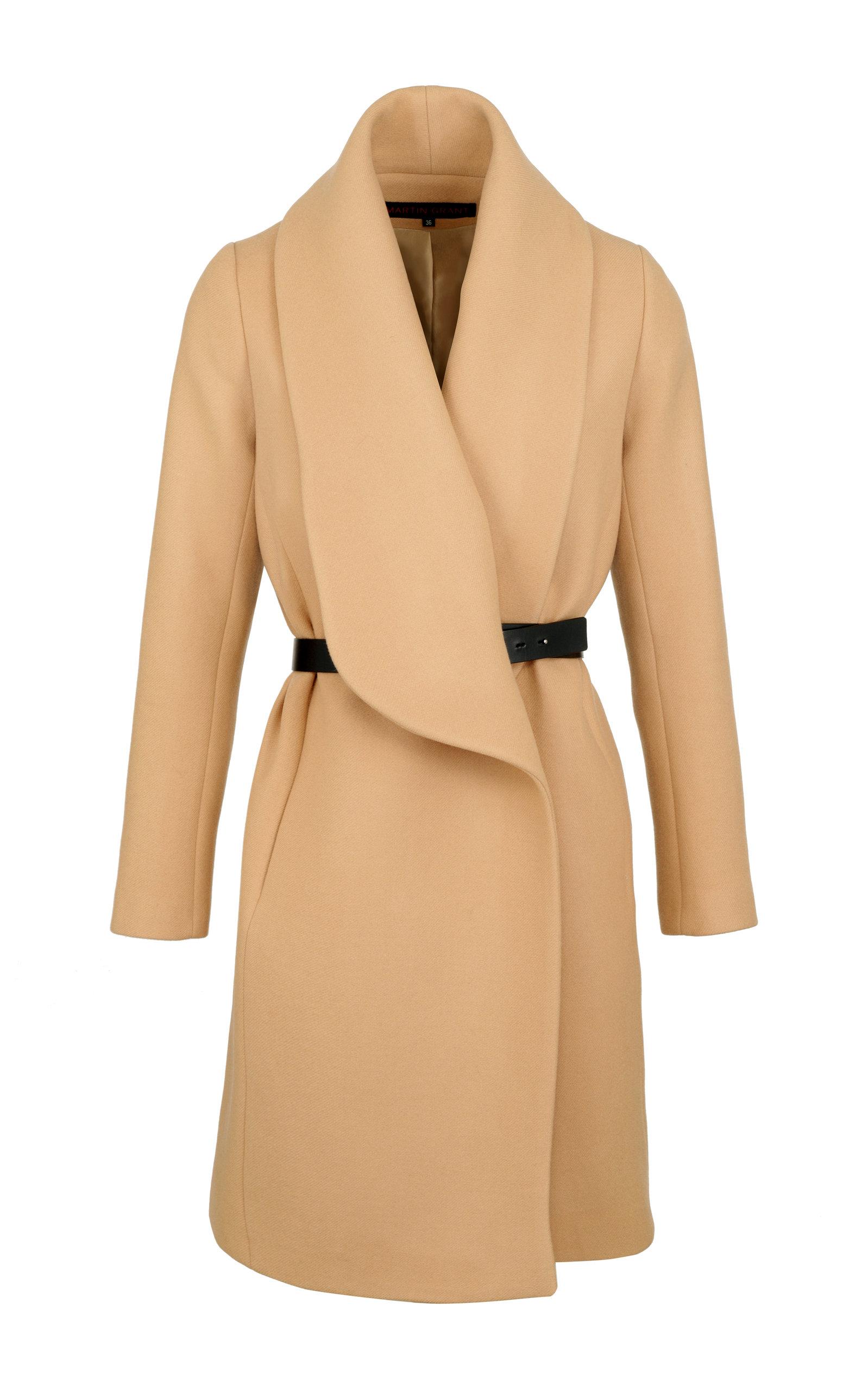 Women's Belted Shawl-Collar Wool-Blend Coat