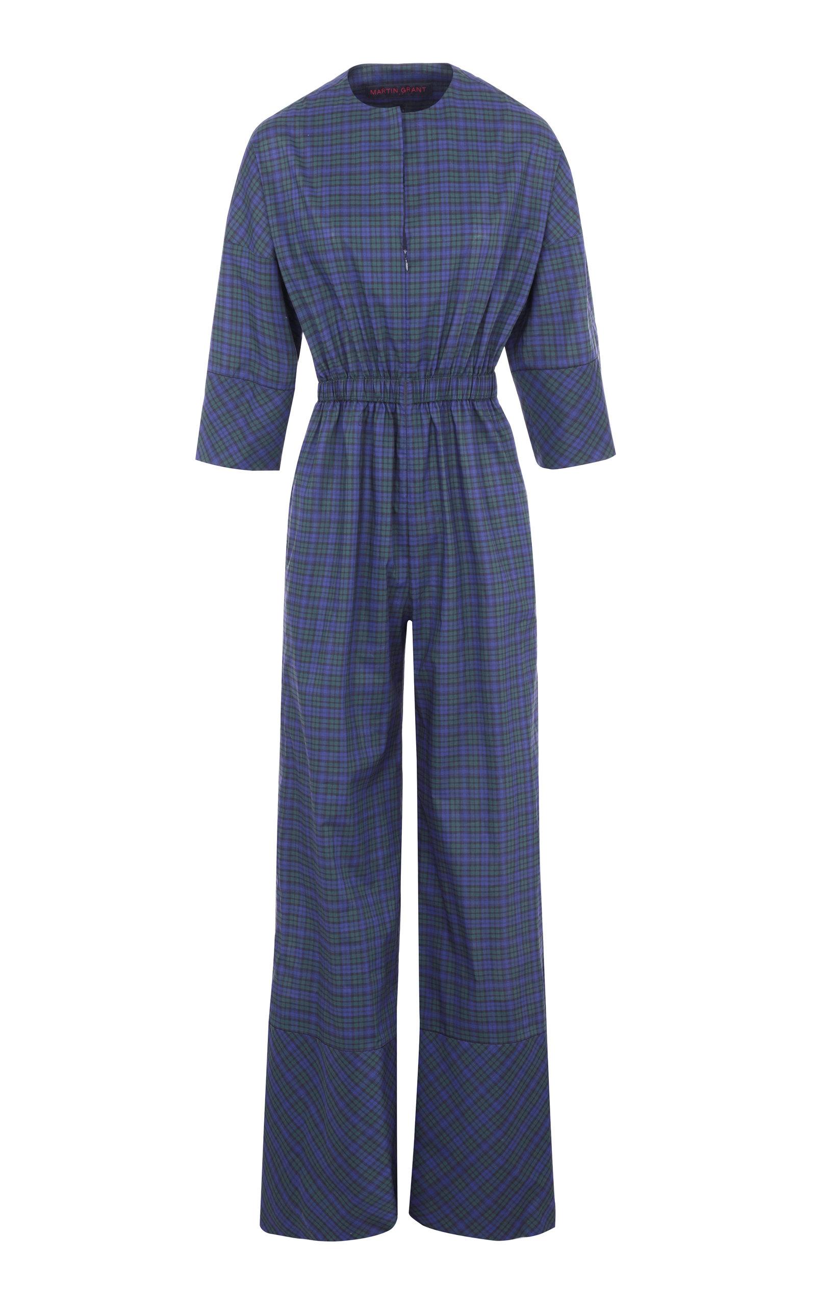 Women's Checked Cotton-Poplin Jumpsuit