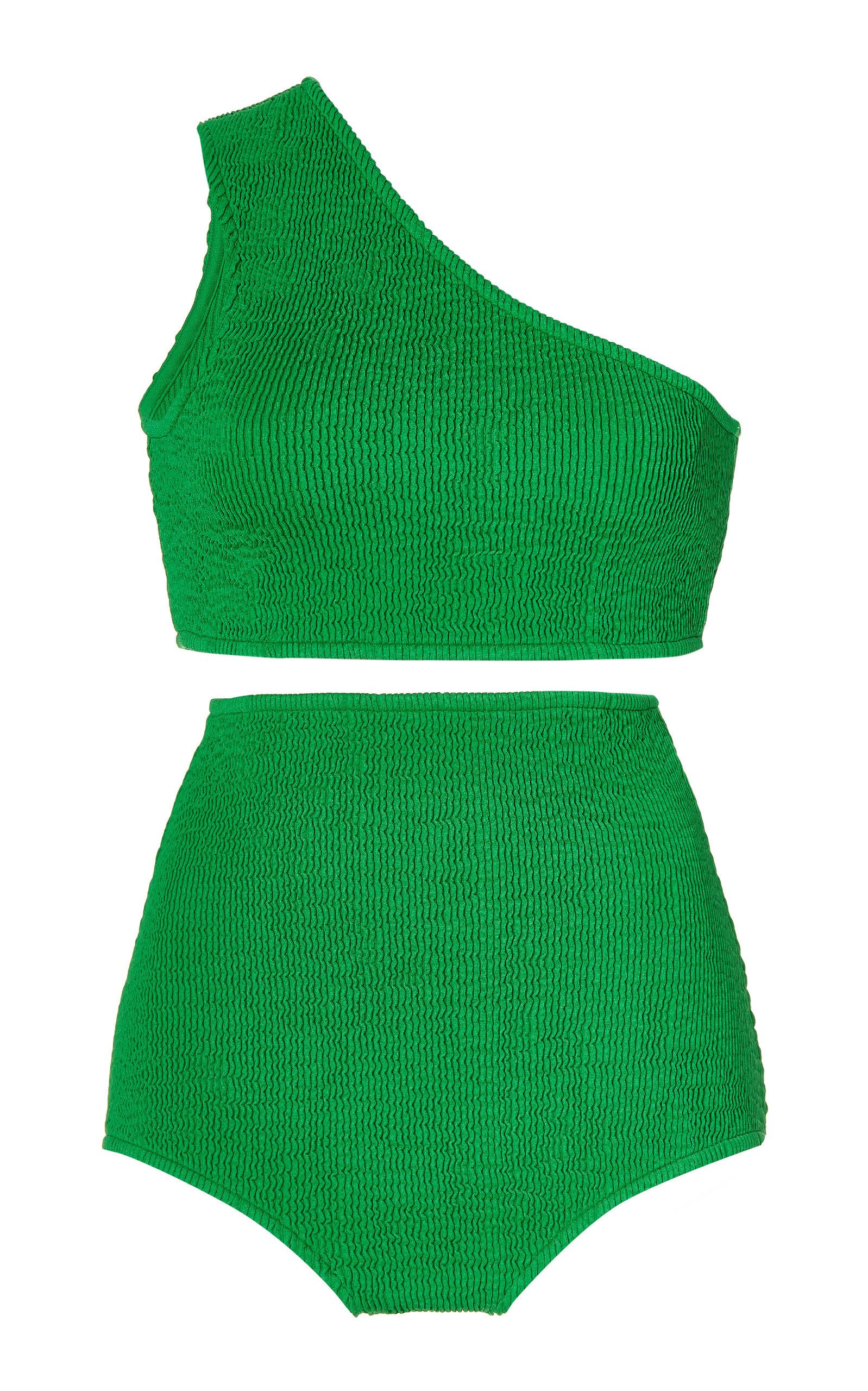 Bottega Veneta - Women's Crinkled One-Shoulder High-Rise Bikini - Green - Moda Operandi