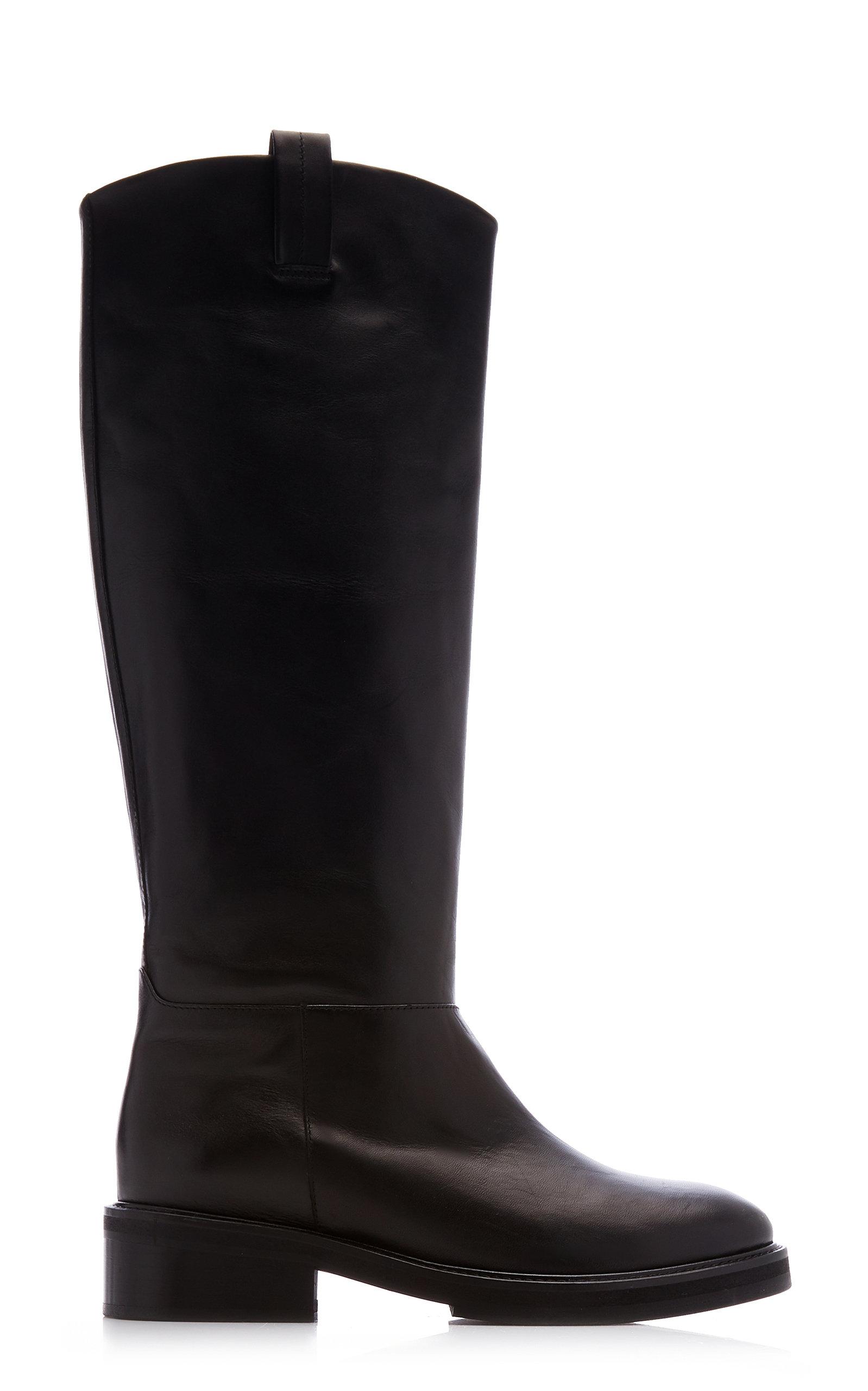 Flattered - Women's Frances Leather Knee High Boots - Black - Moda Operandi