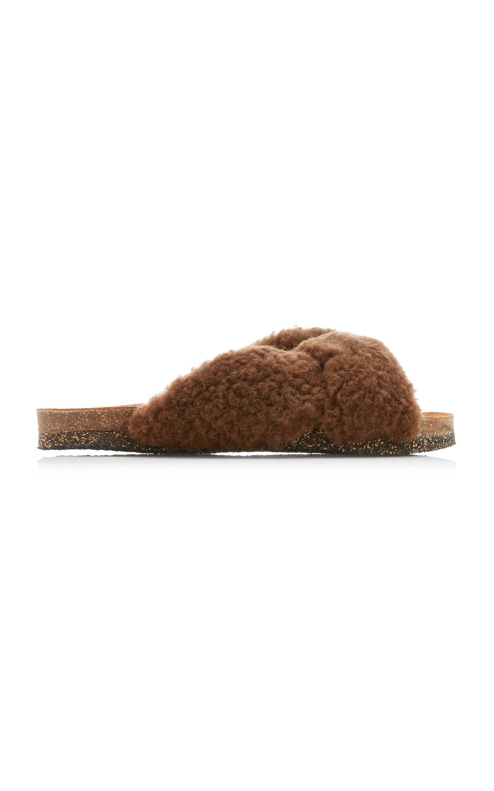 Flattered - Women's Lou Faux Fur Sandals - Brown - Moda Operandi