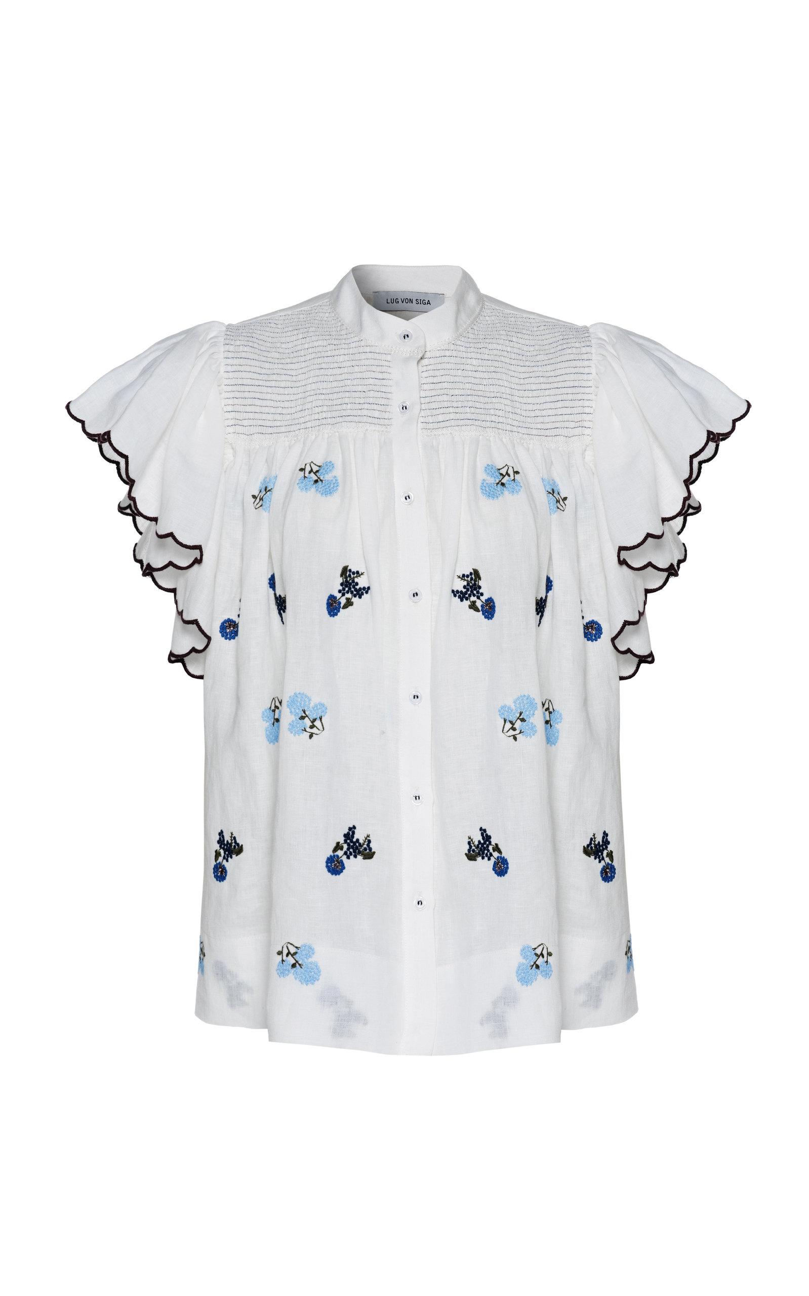 Women's Bonnie Floral Linen Top