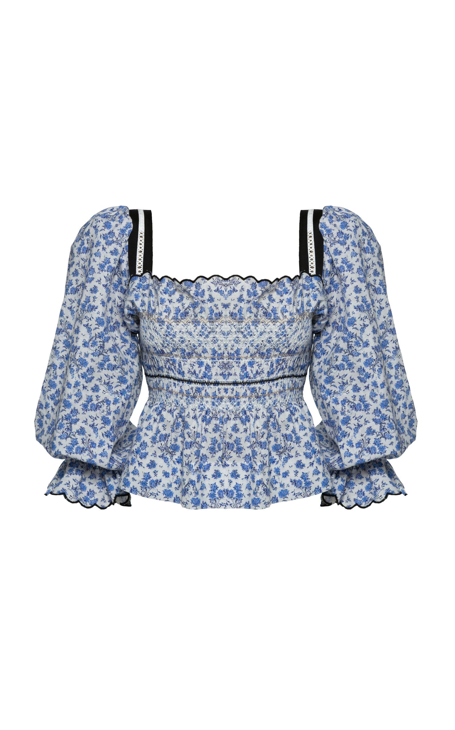 Women's Elisa Floral Cotton-Blend Top